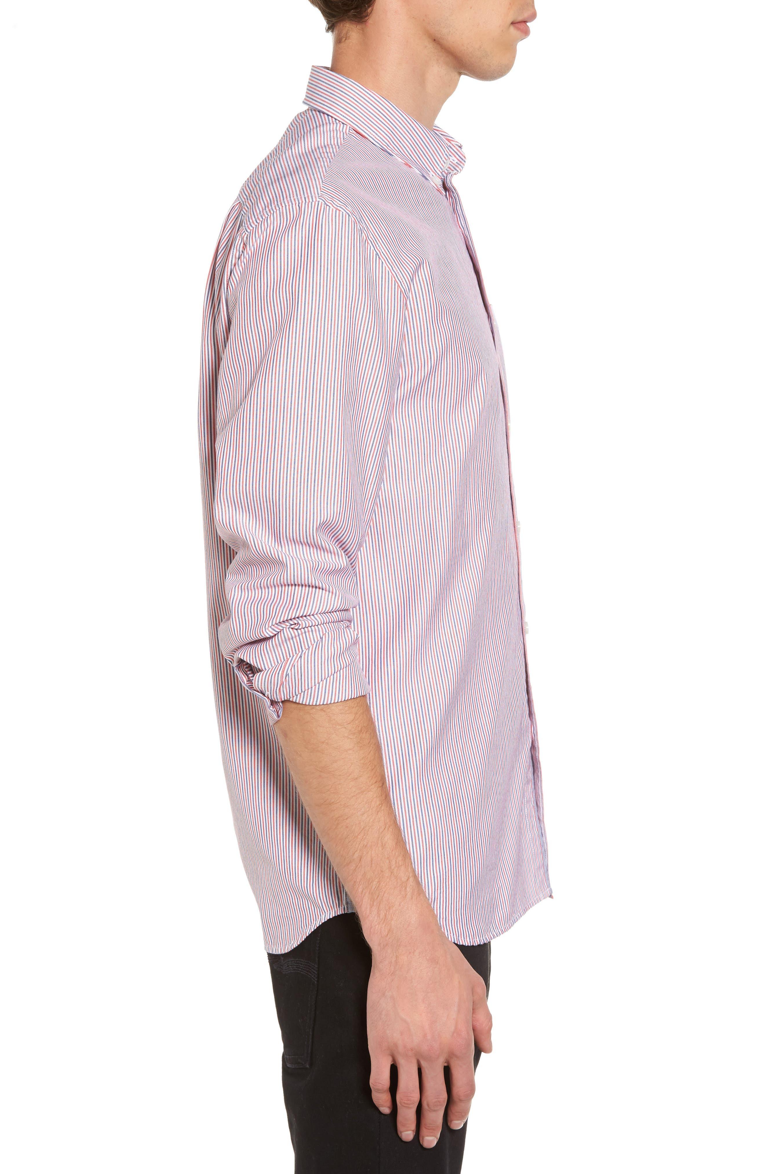 Button-Down Sport Shirt,                             Alternate thumbnail 3, color,                             Cherry Red/ Methylene-White