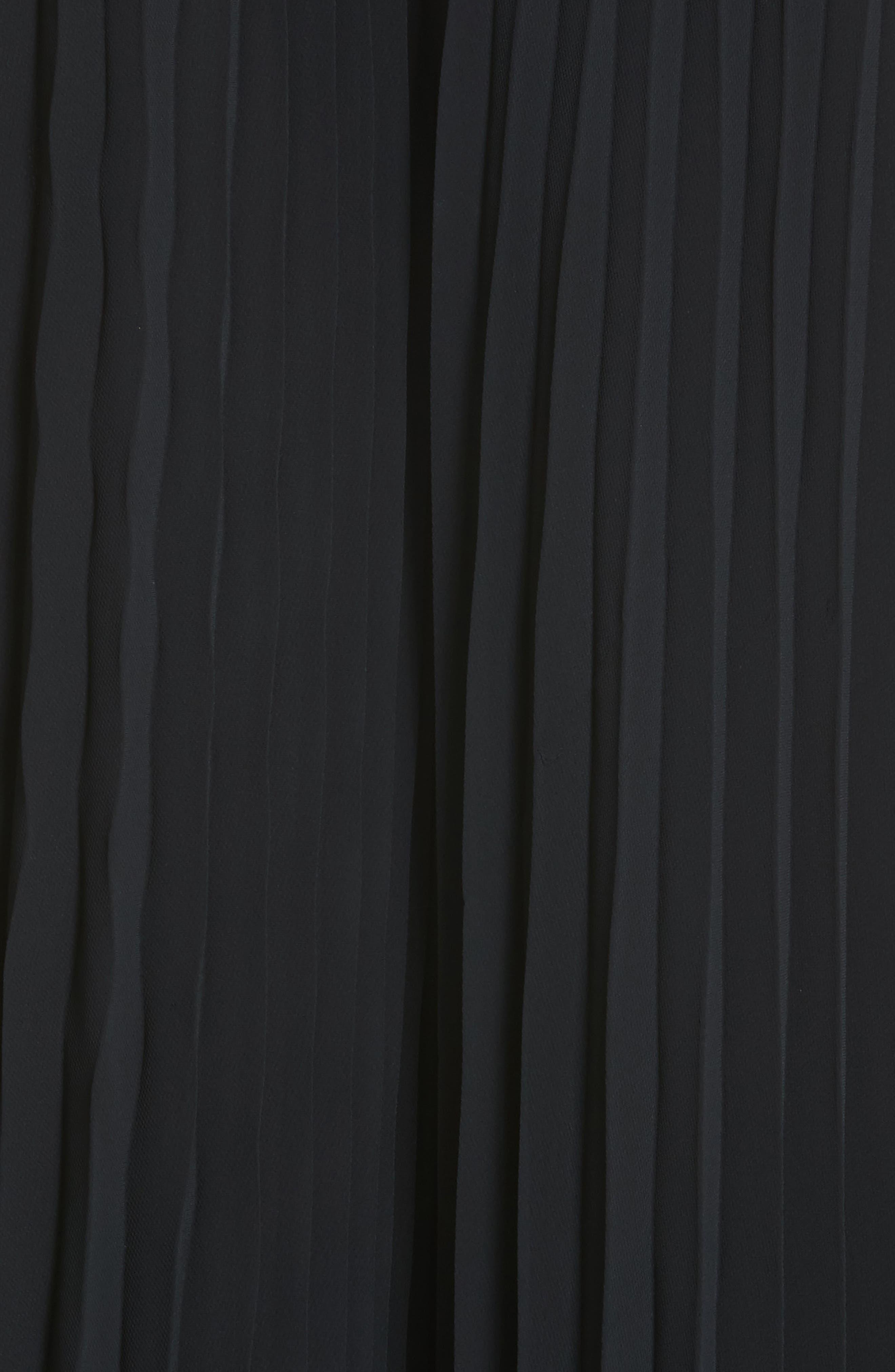 Carmen Marc Valvo Embellished Pleat Trapeze Dress,                             Alternate thumbnail 6, color,                             Black
