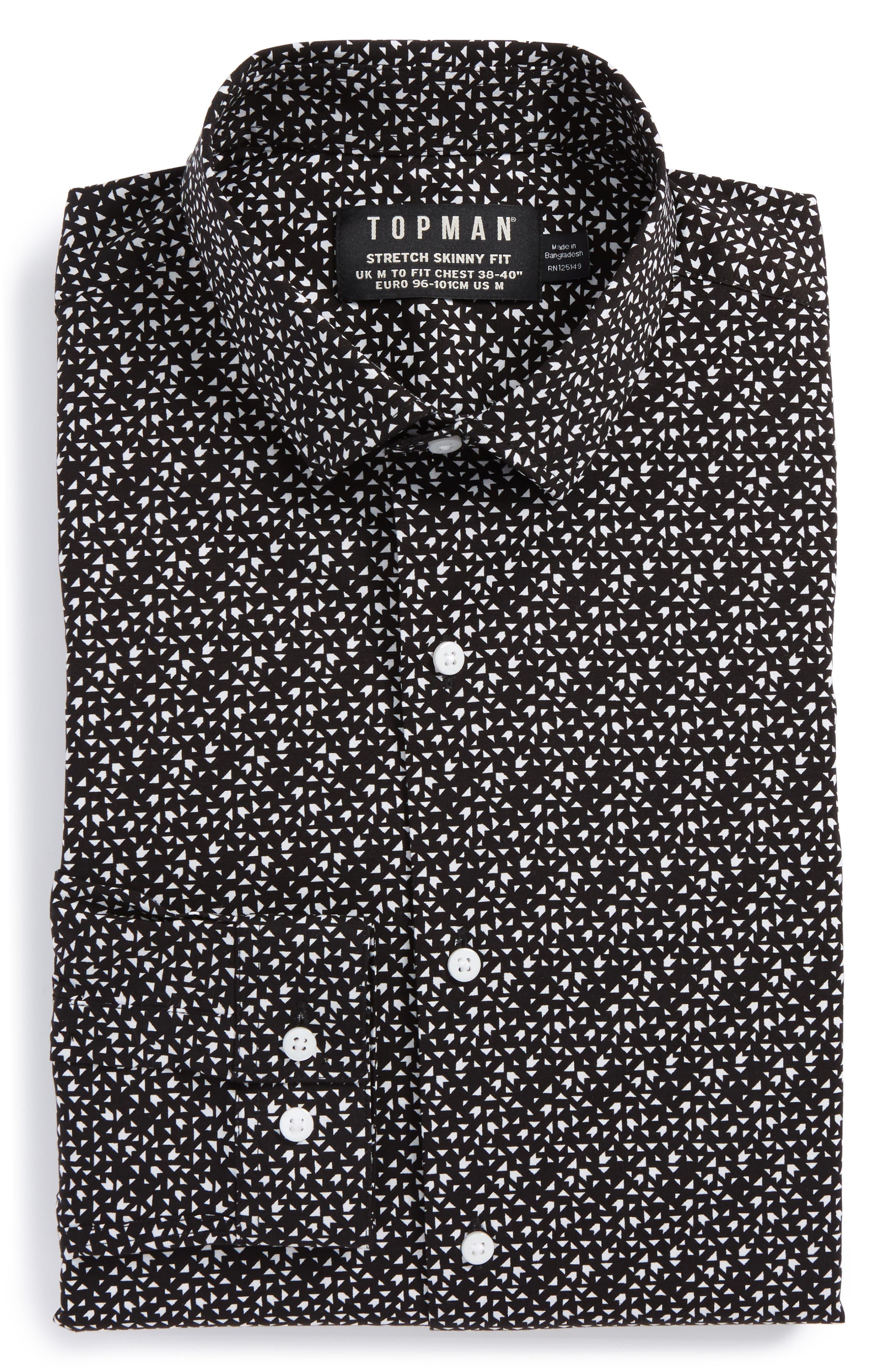 Topman Skinny Fit Geo Print Stretch Woven Shirt