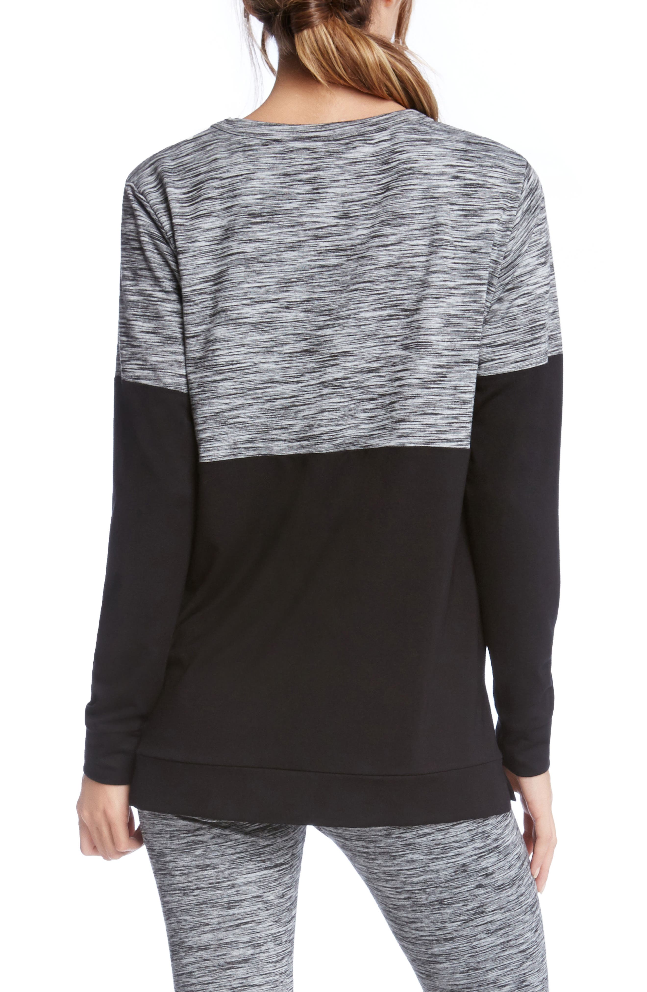 Long Sleeve Contrast Top,                             Alternate thumbnail 2, color,                             Print