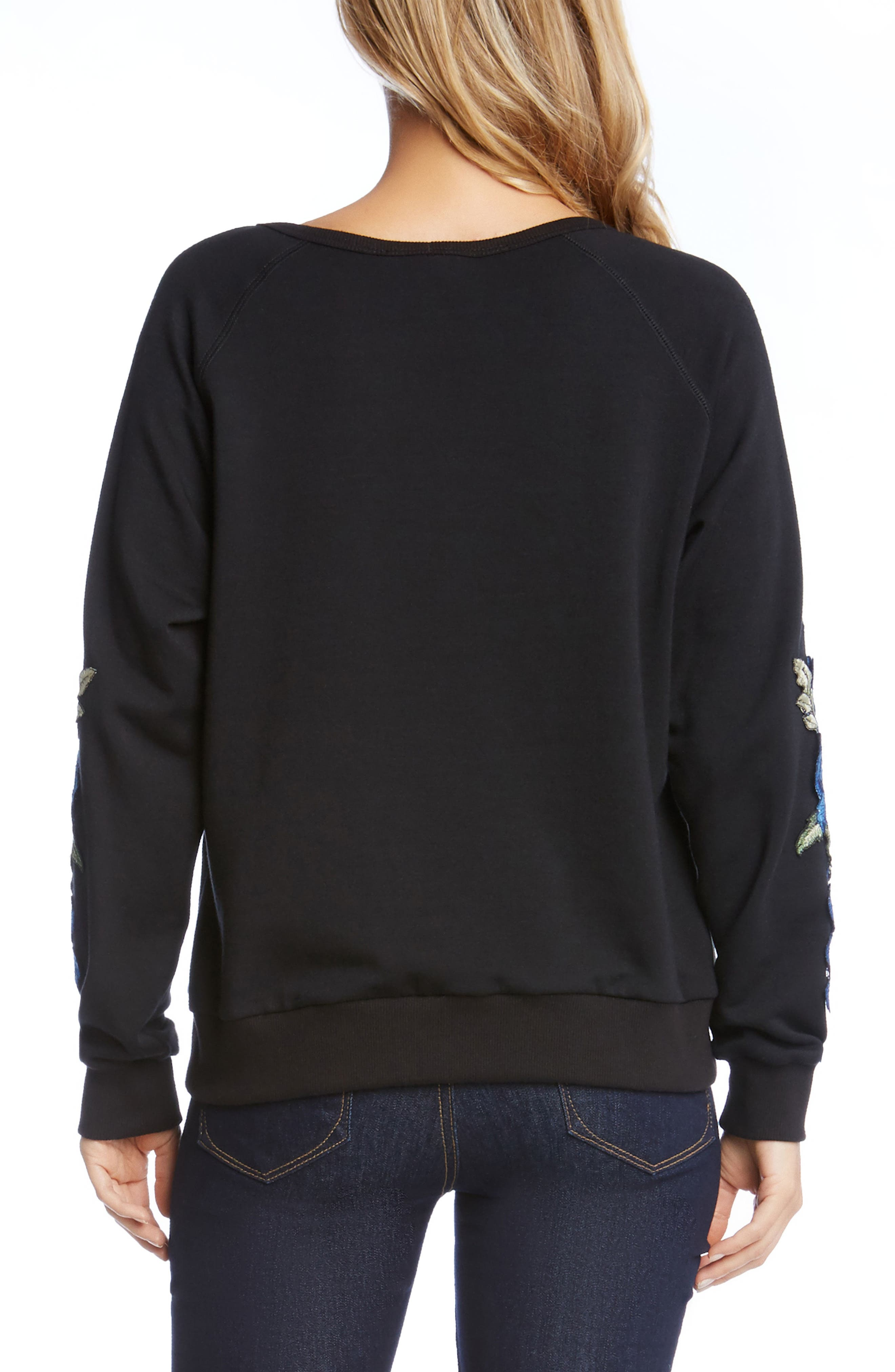 Alternate Image 3  - Karen Kane Appliqué Sleeve Sweatshirt