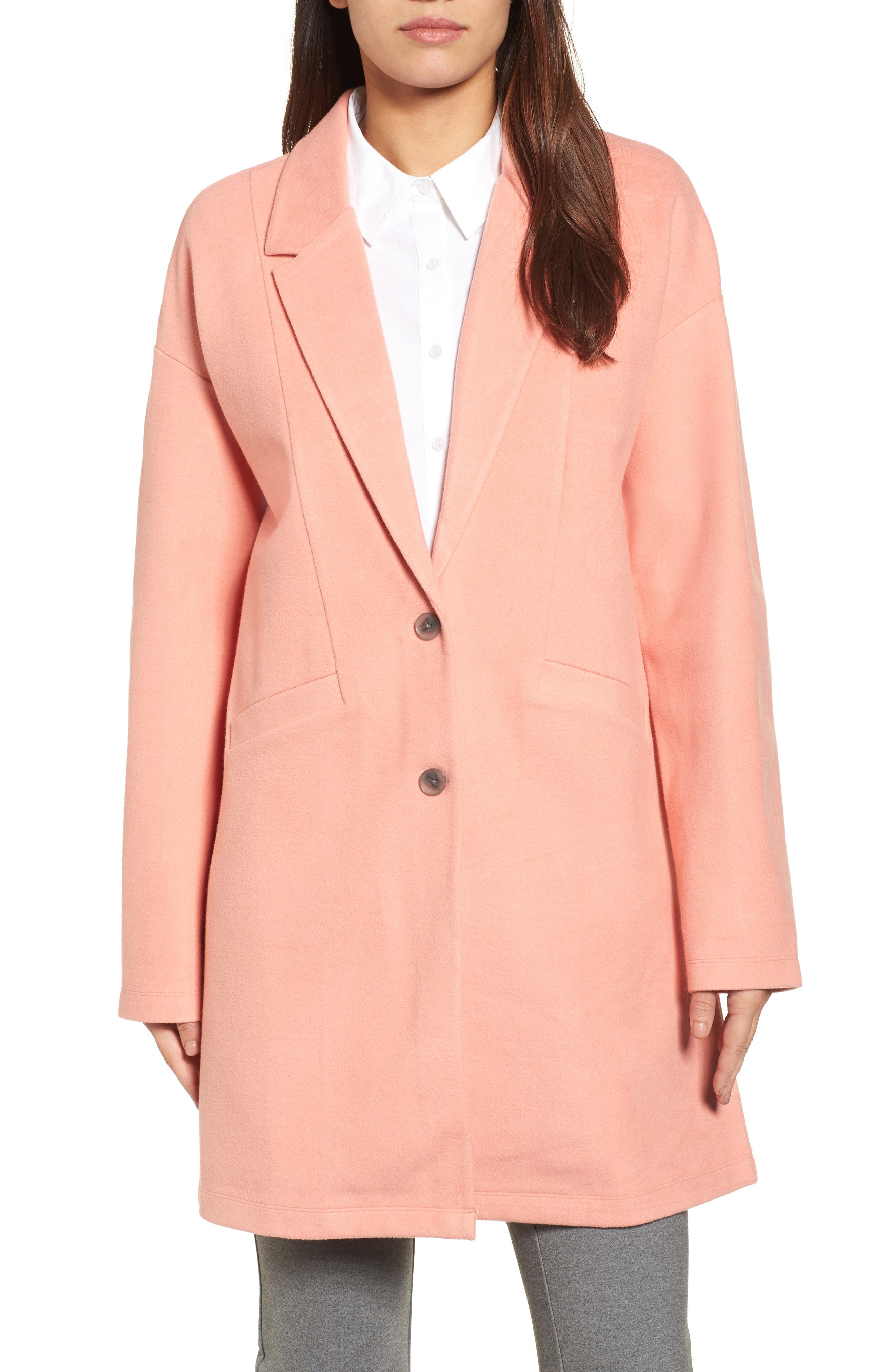 Two-Button Jacket,                             Main thumbnail 1, color,                             Coral Terra