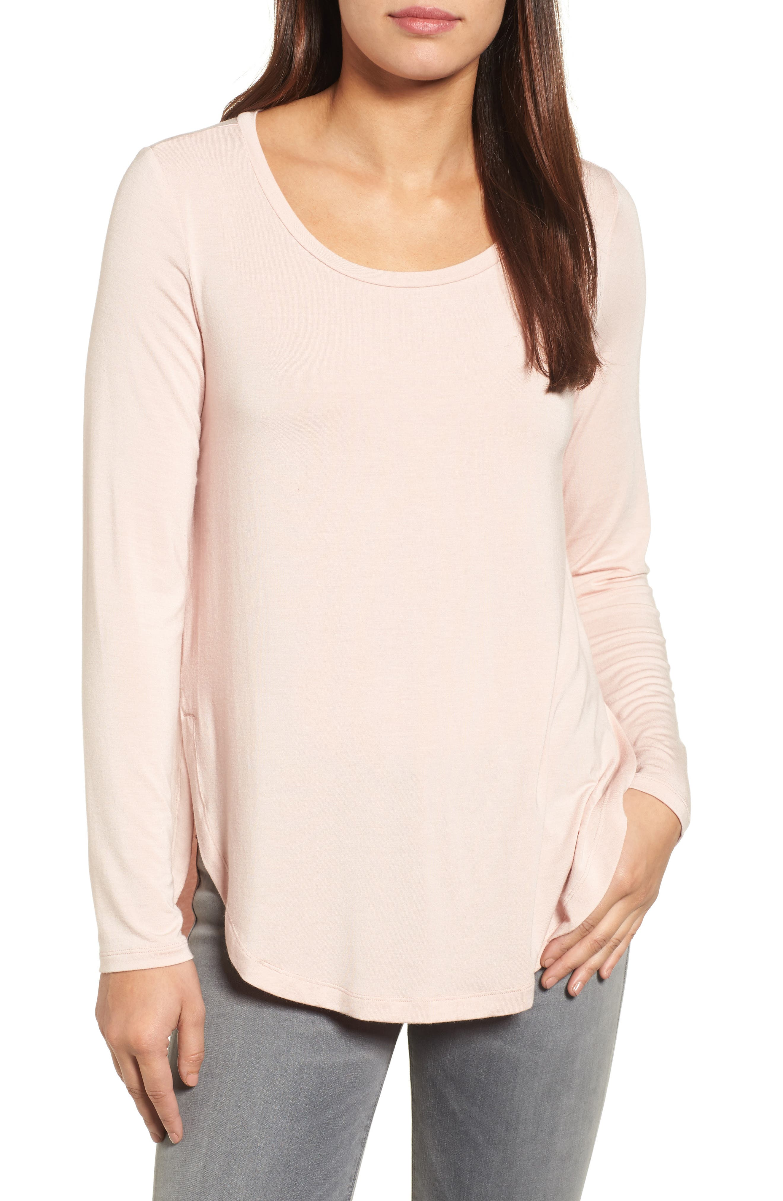 Long Sleeve Knit Tunic,                         Main,                         color, Pink Smoke