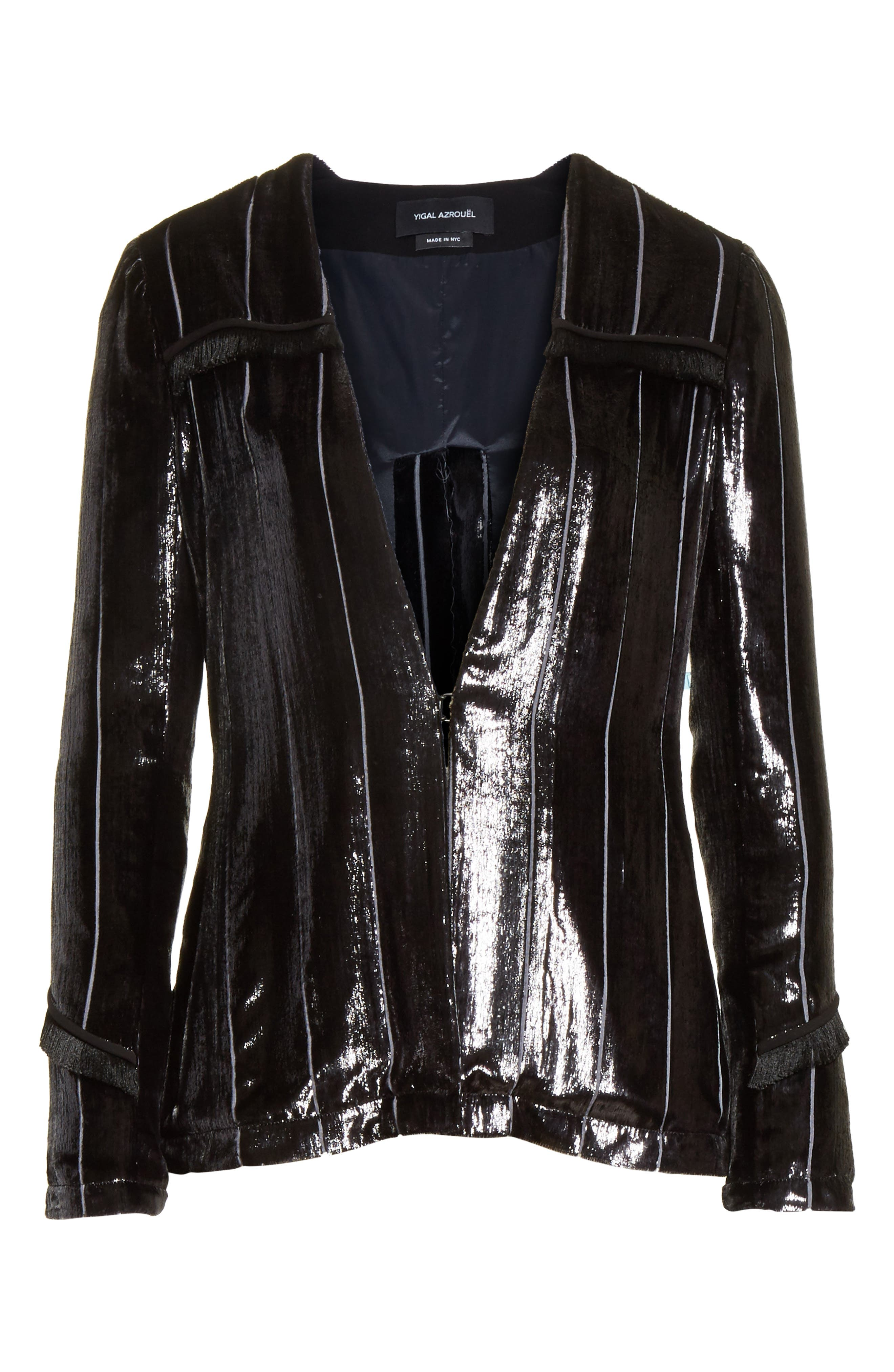 Alternate Image 6  - Yigal Azrouël Fringe Trim Liquid Velvet Blazer