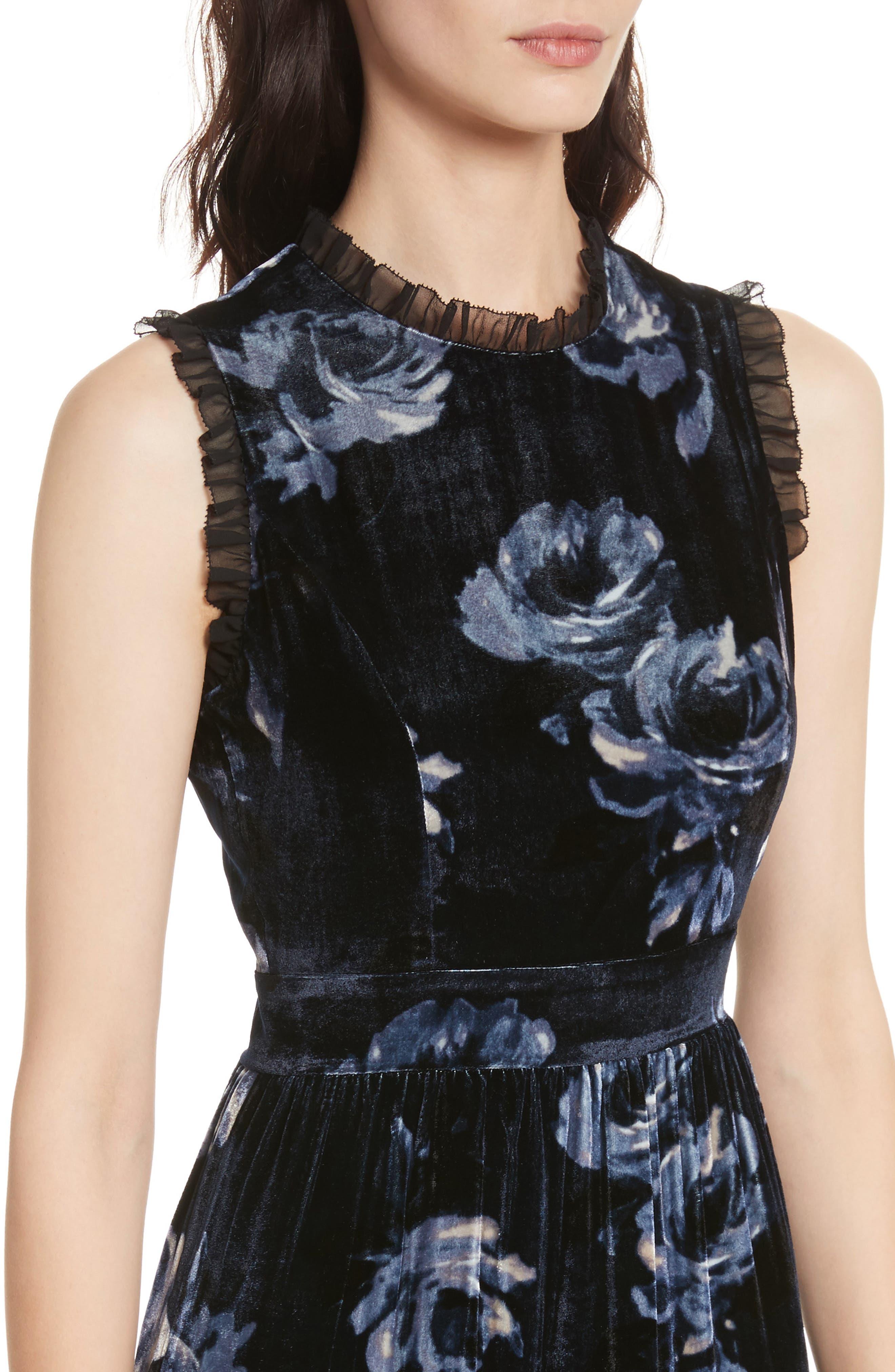 night rose velvet dress,                             Alternate thumbnail 4, color,                             Rich Navy