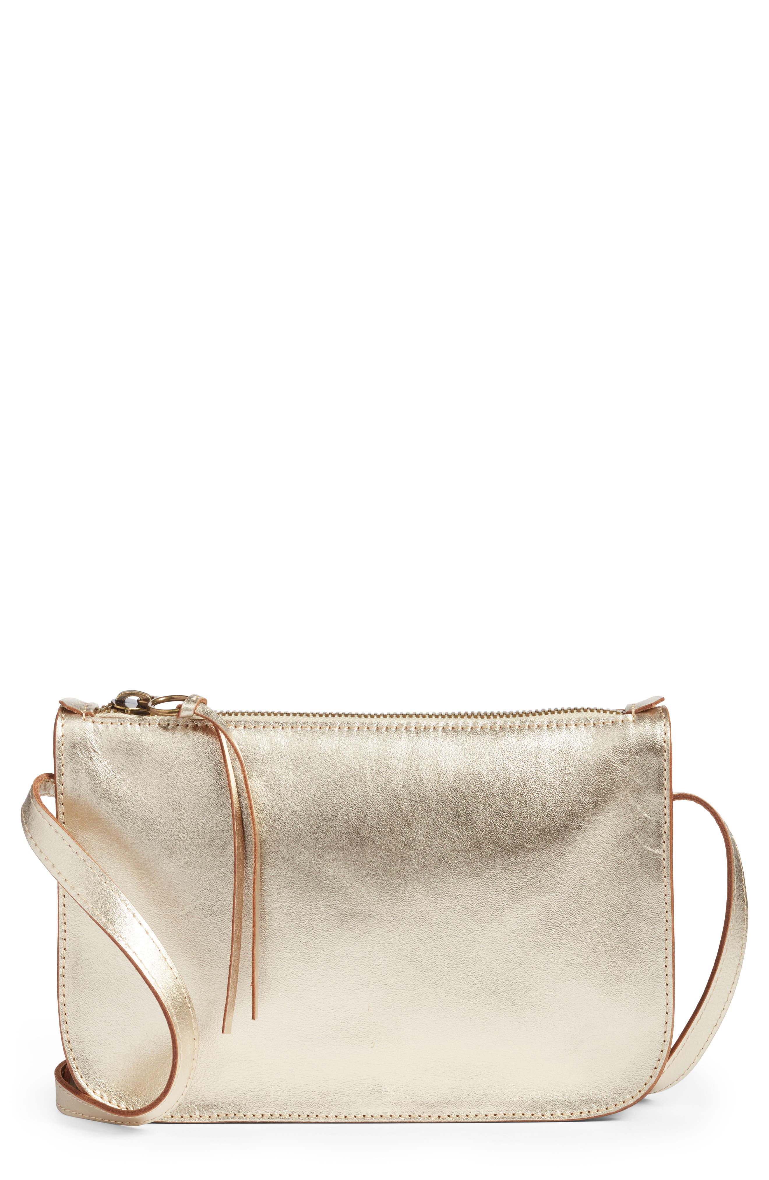 Leather Crossbody Bag,                         Main,                         color, Gold Metallic