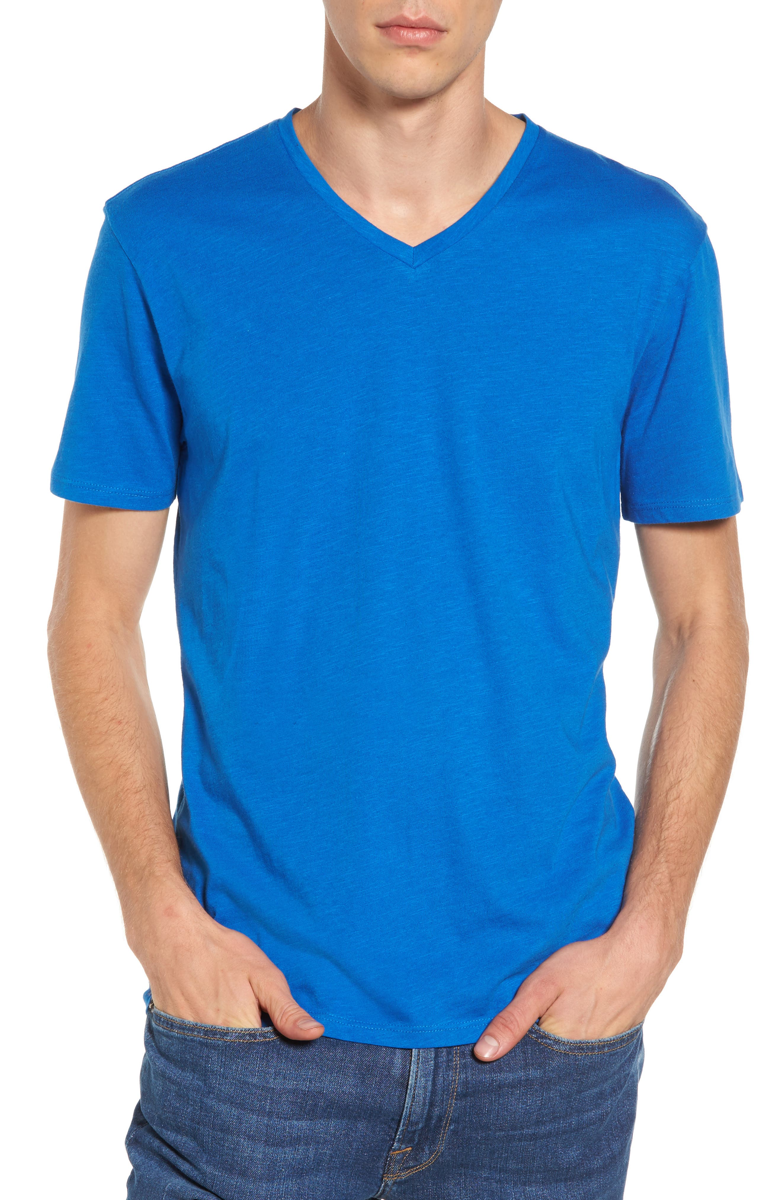 Slub Cotton V-Neck T-Shirt,                             Main thumbnail 1, color,                             Blue Racer