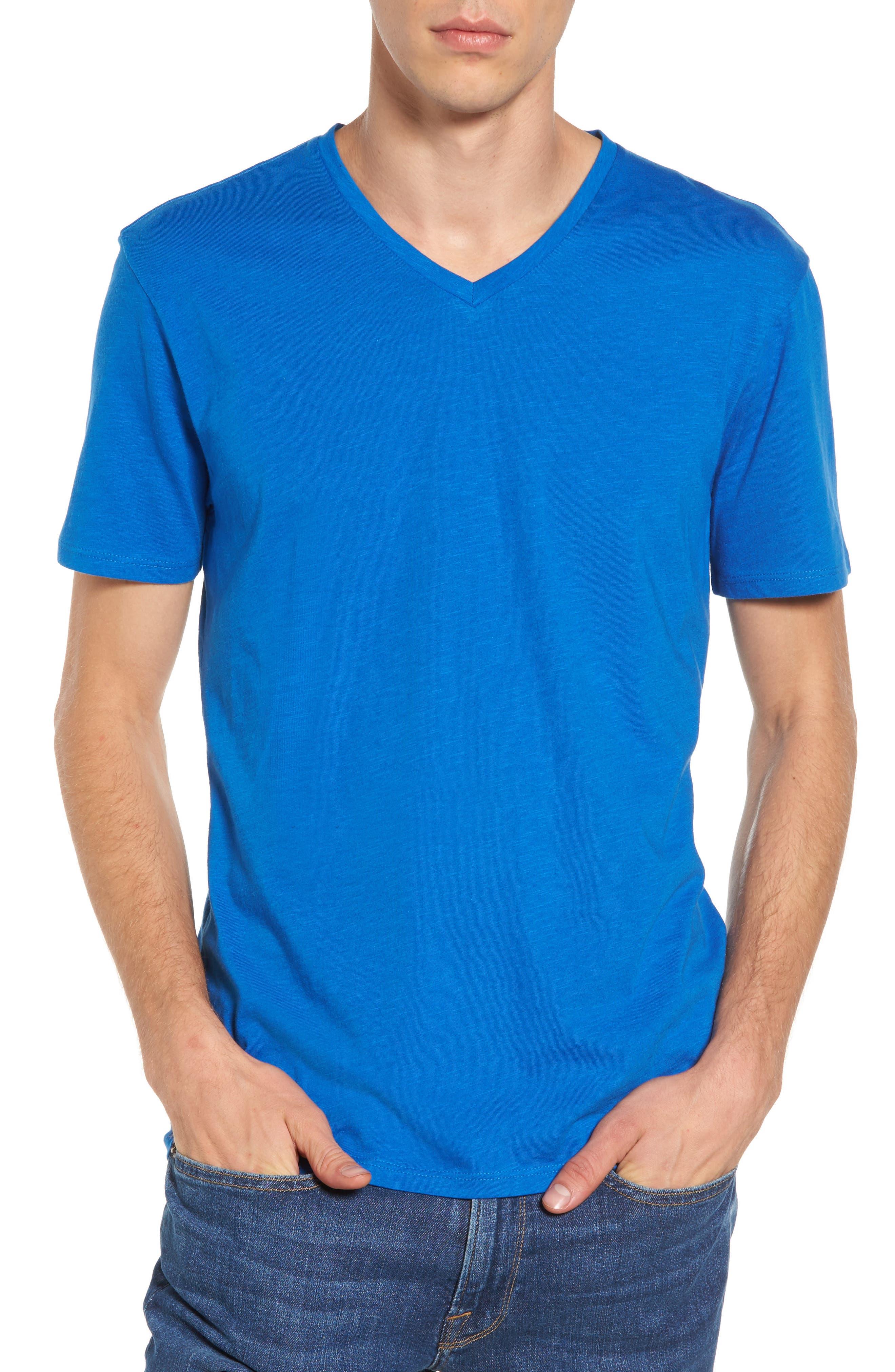 Slub Cotton V-Neck T-Shirt,                         Main,                         color, Blue Racer