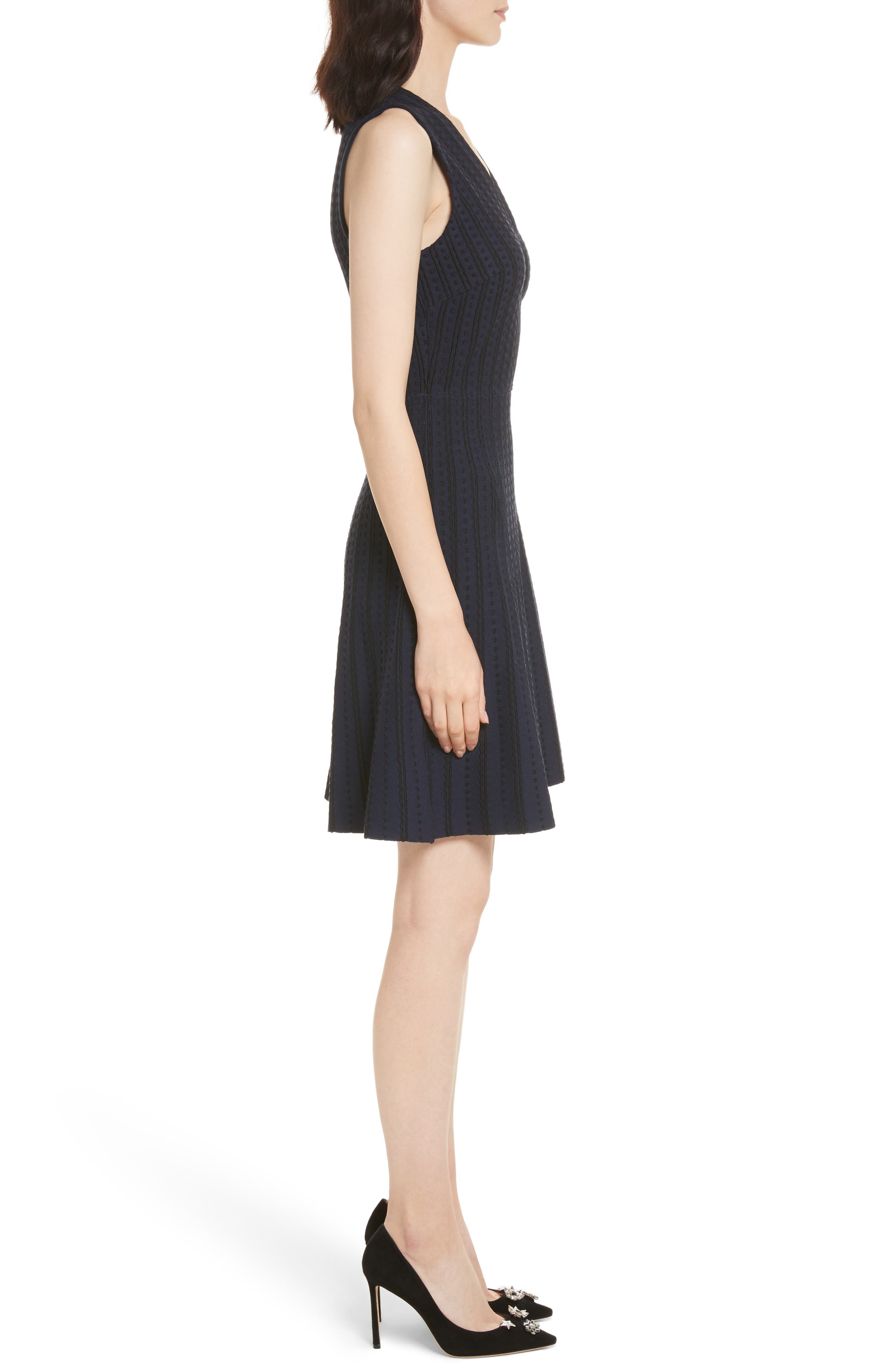 textured sweater dress,                             Alternate thumbnail 3, color,                             Rich Navy
