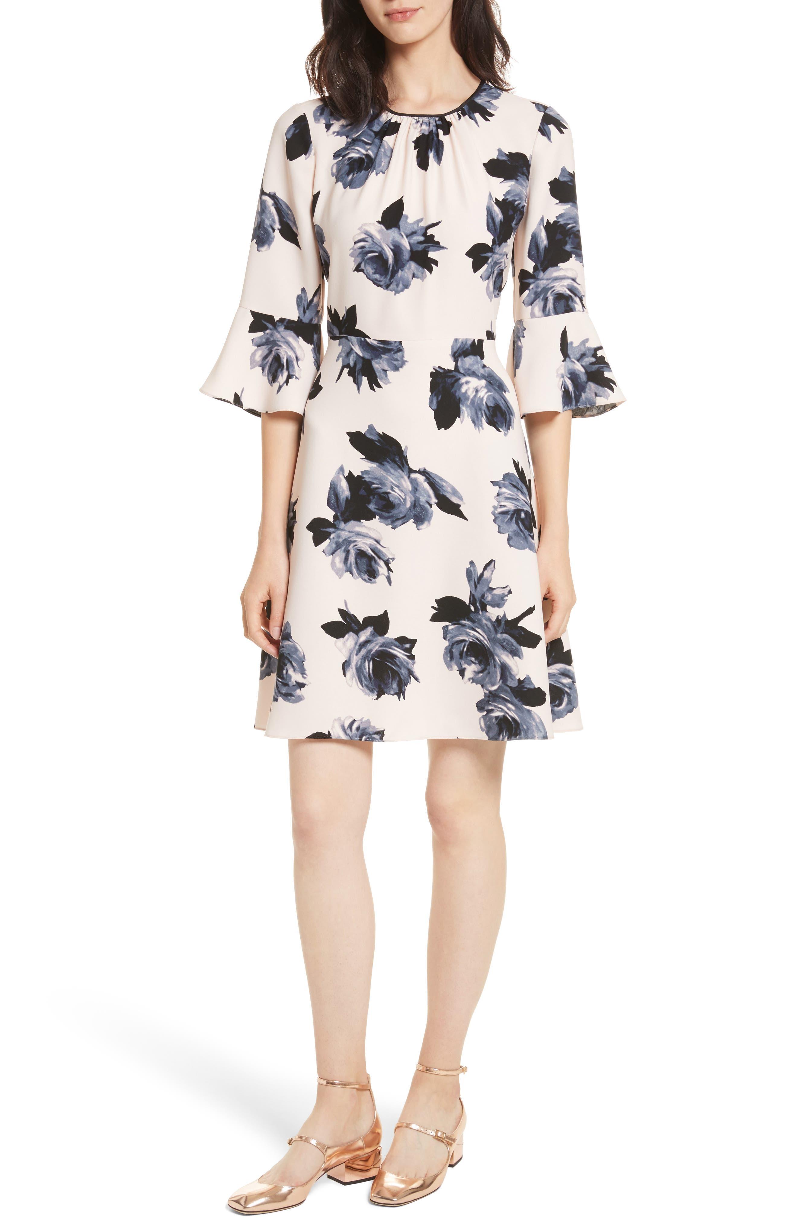night rose ruffle sleeve dress,                             Main thumbnail 1, color,                             Rose Dew