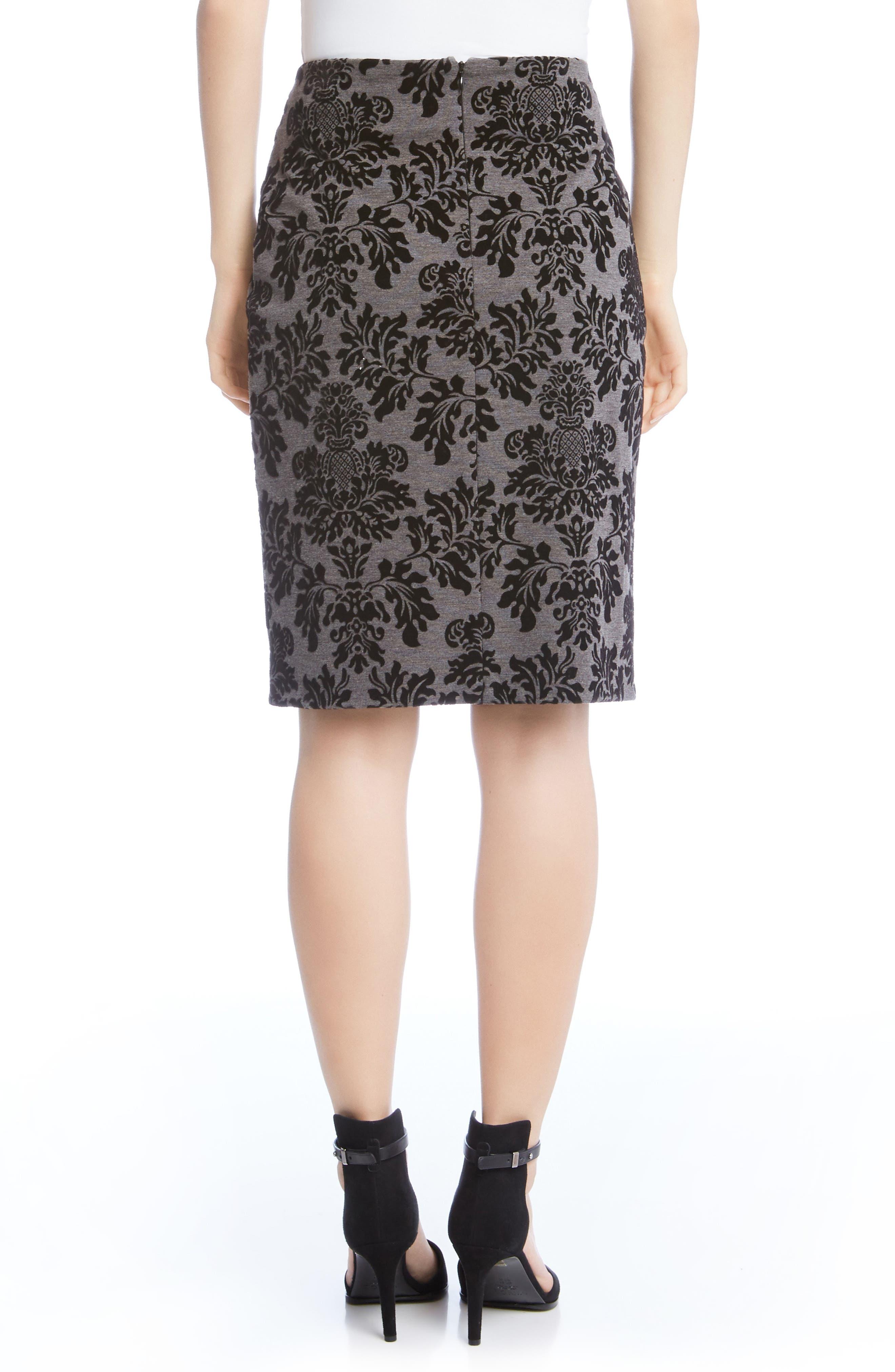 Embossed Velvet Skirt,                             Alternate thumbnail 2, color,                             Grey W/ Black