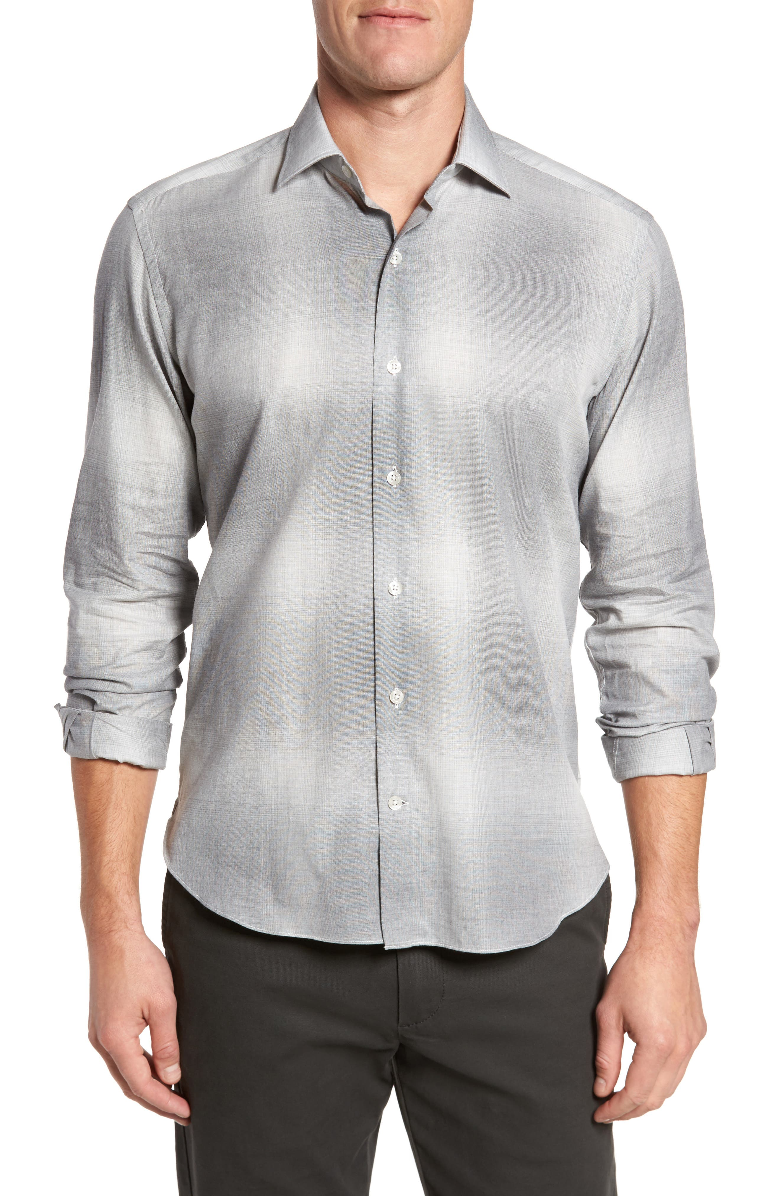 Slim Fit Plaid Sport Shirt,                         Main,                         color, Grey