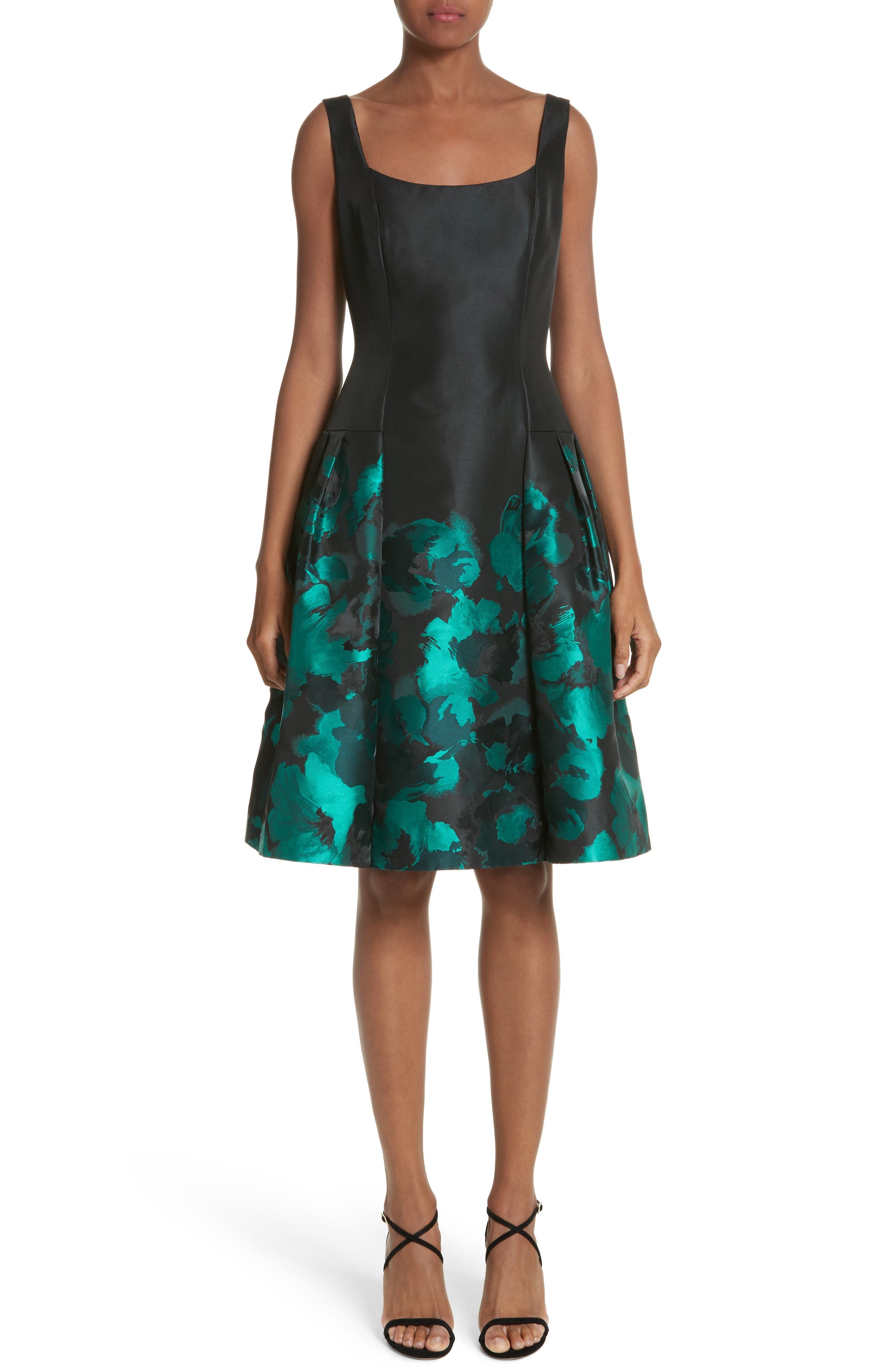 Main Image - Carmen Marc Valvo Floral Jacquard Cocktail Dress