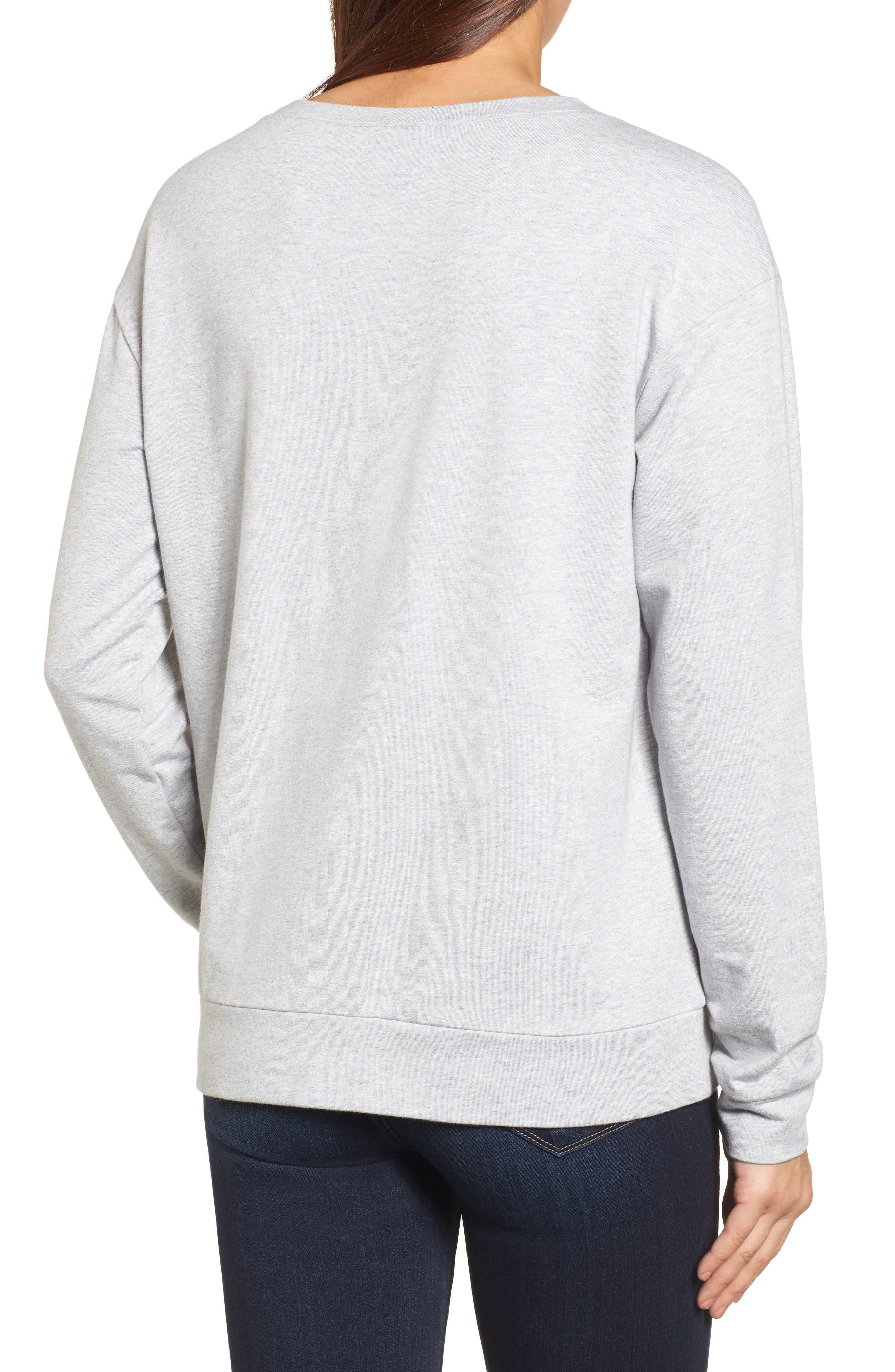 Embellished Sweatshirt,                             Alternate thumbnail 3, color,                             Grey Heather