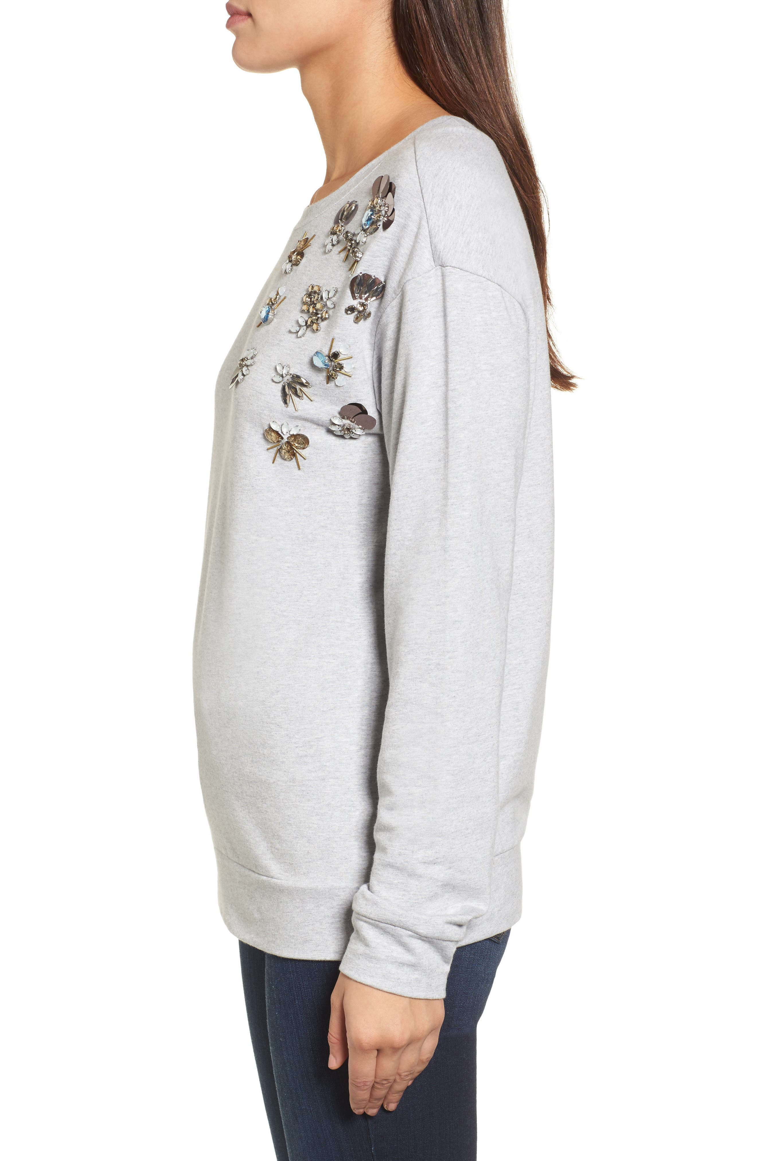 Embellished Sweatshirt,                             Alternate thumbnail 4, color,                             Grey Heather