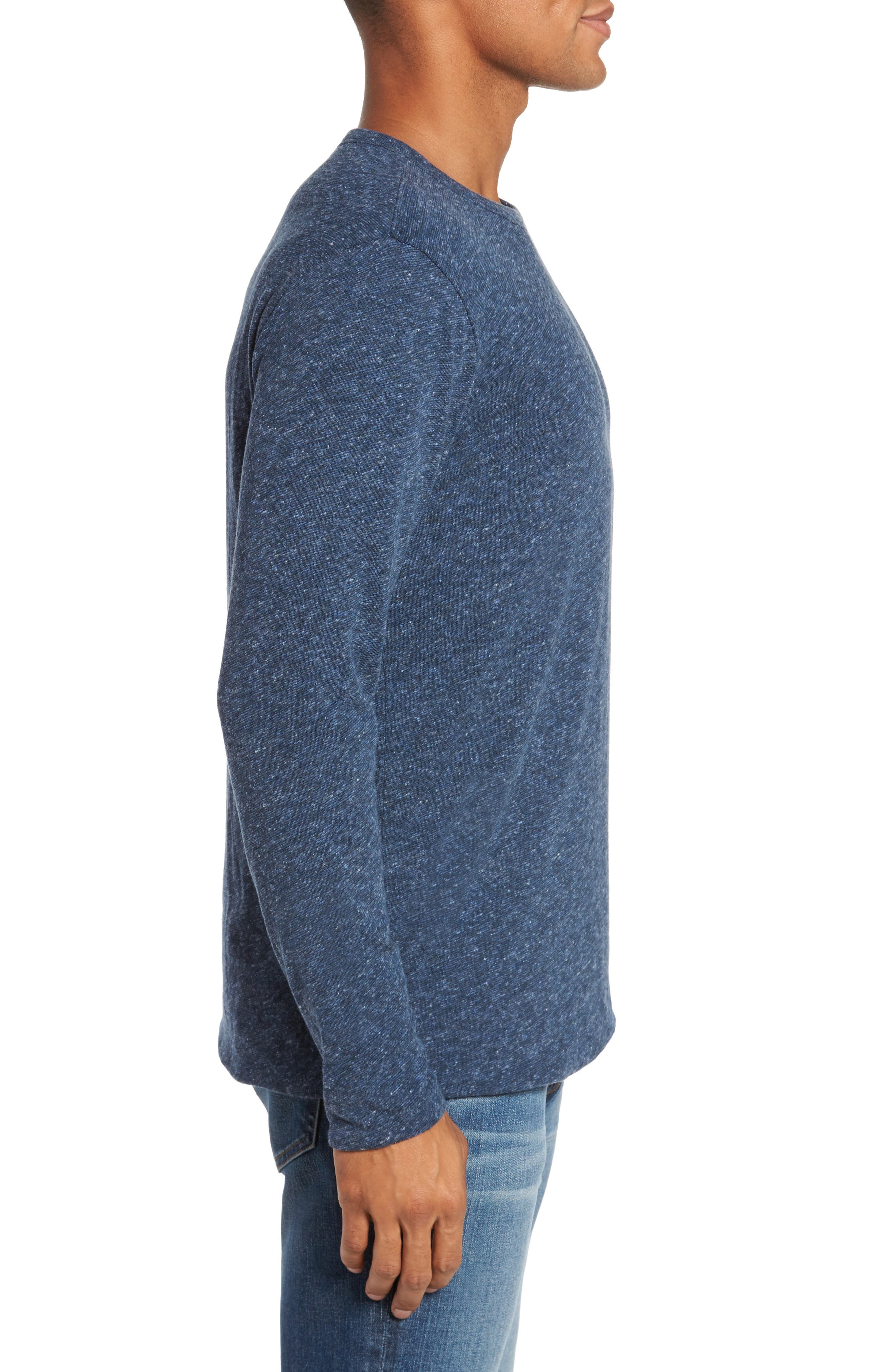 Alternate Image 3  - Faherty Heathered Reversible Long Sleeve Crewneck T-Shirt