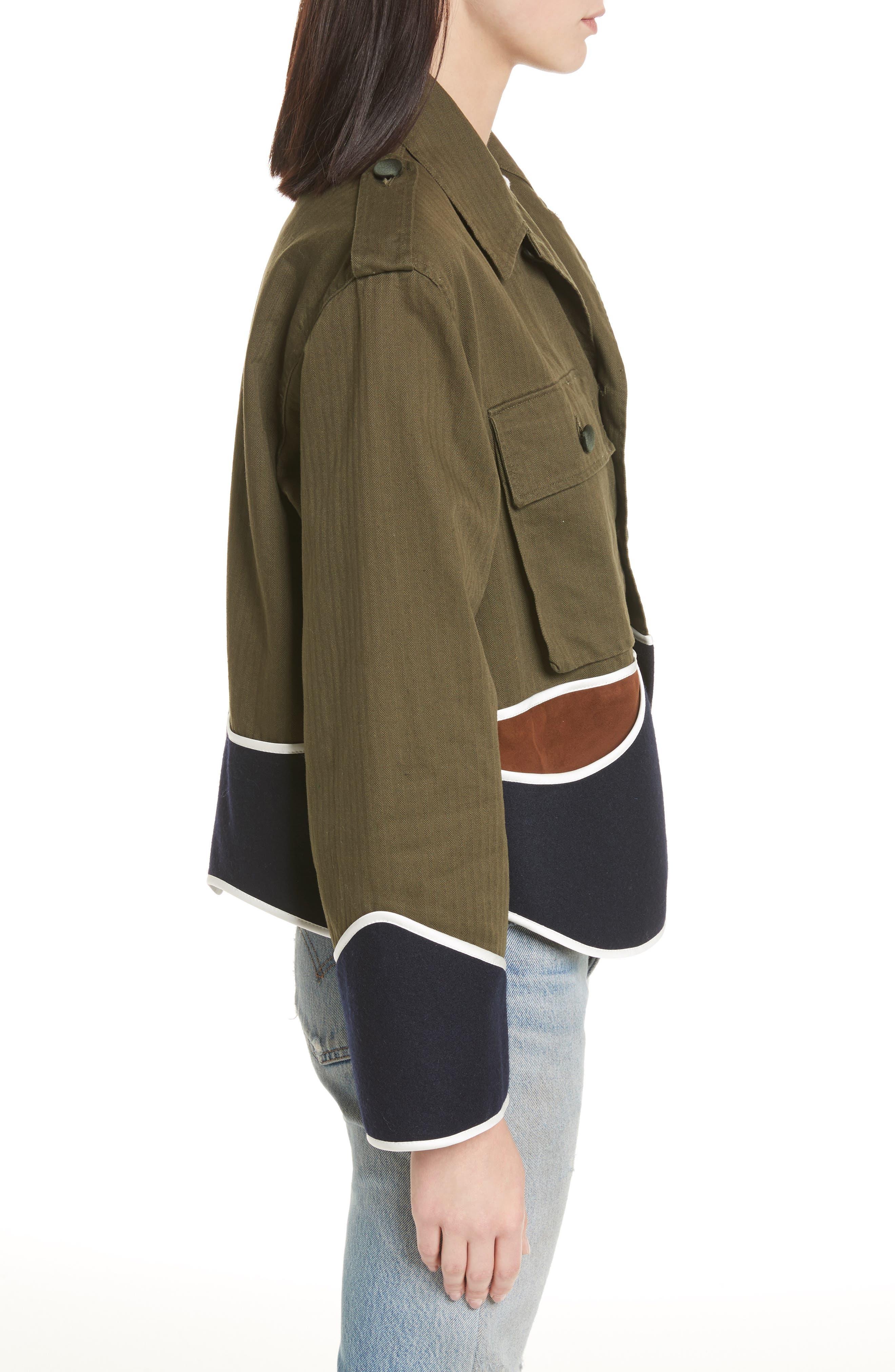 Vintage Crop Jacket,                             Alternate thumbnail 3, color,                             Olive