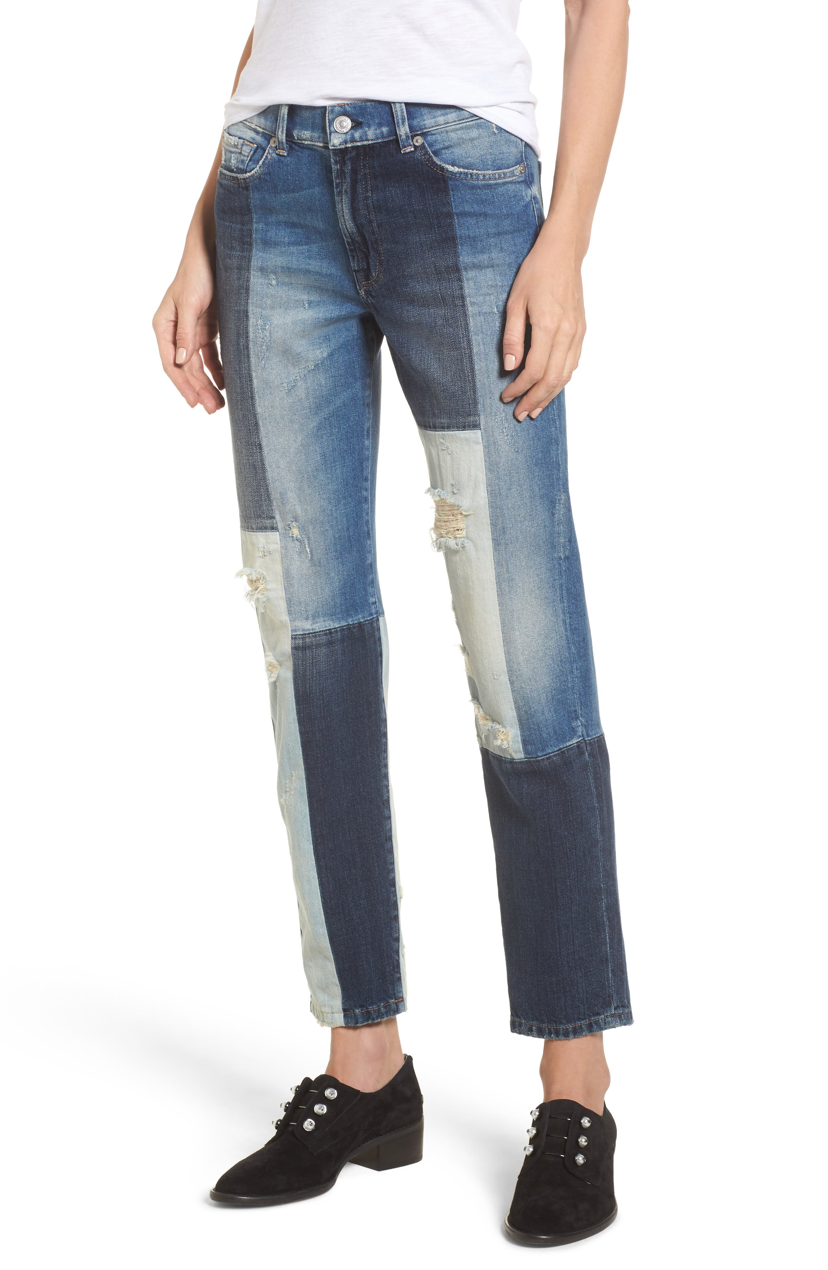 High Waist Patched Slim Jeans,                         Main,                         color, Indigo Patches