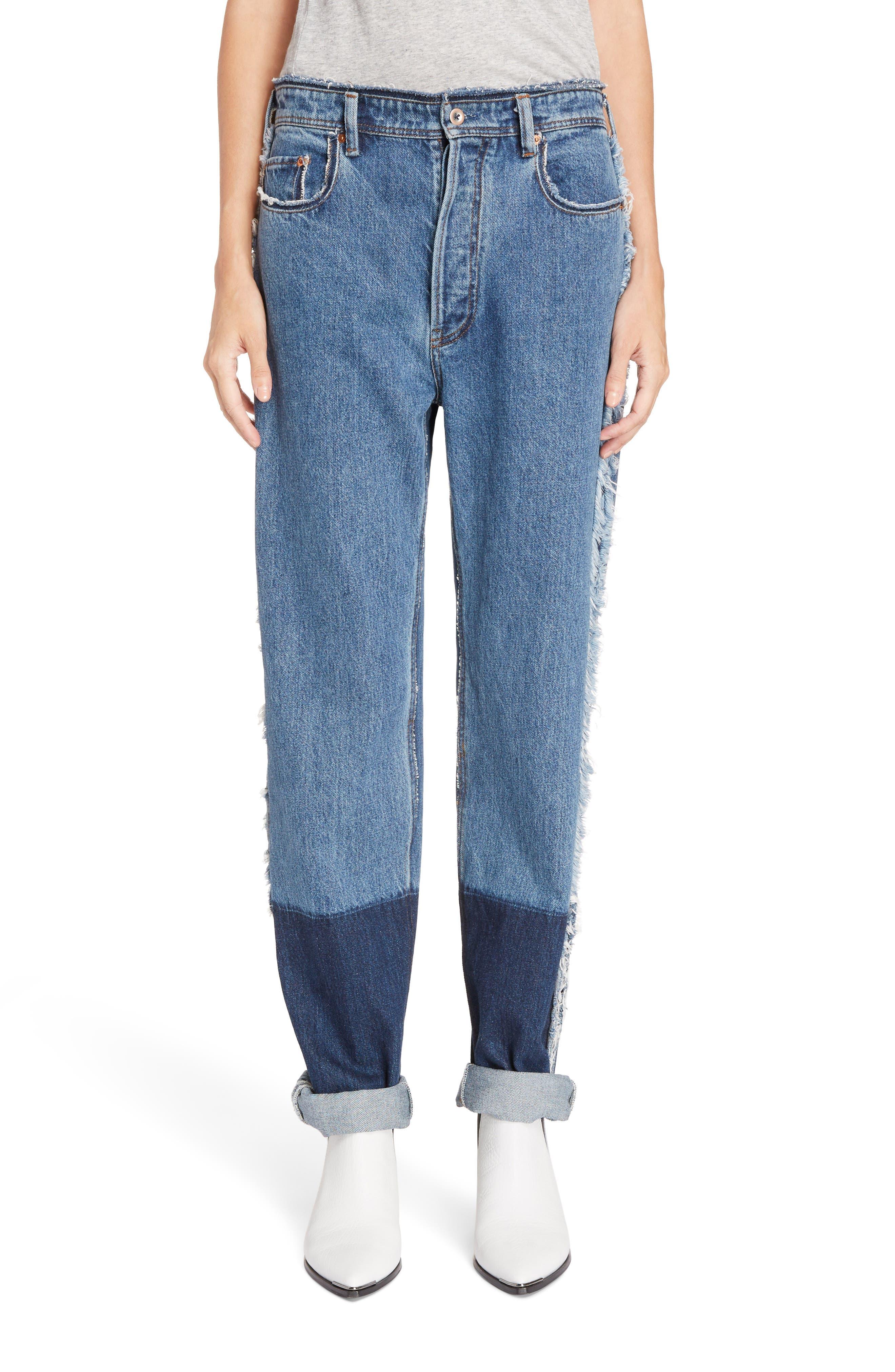 Mirja Frayed High Waist Straight Leg Jeans,                             Main thumbnail 1, color,                             Indigo Blue