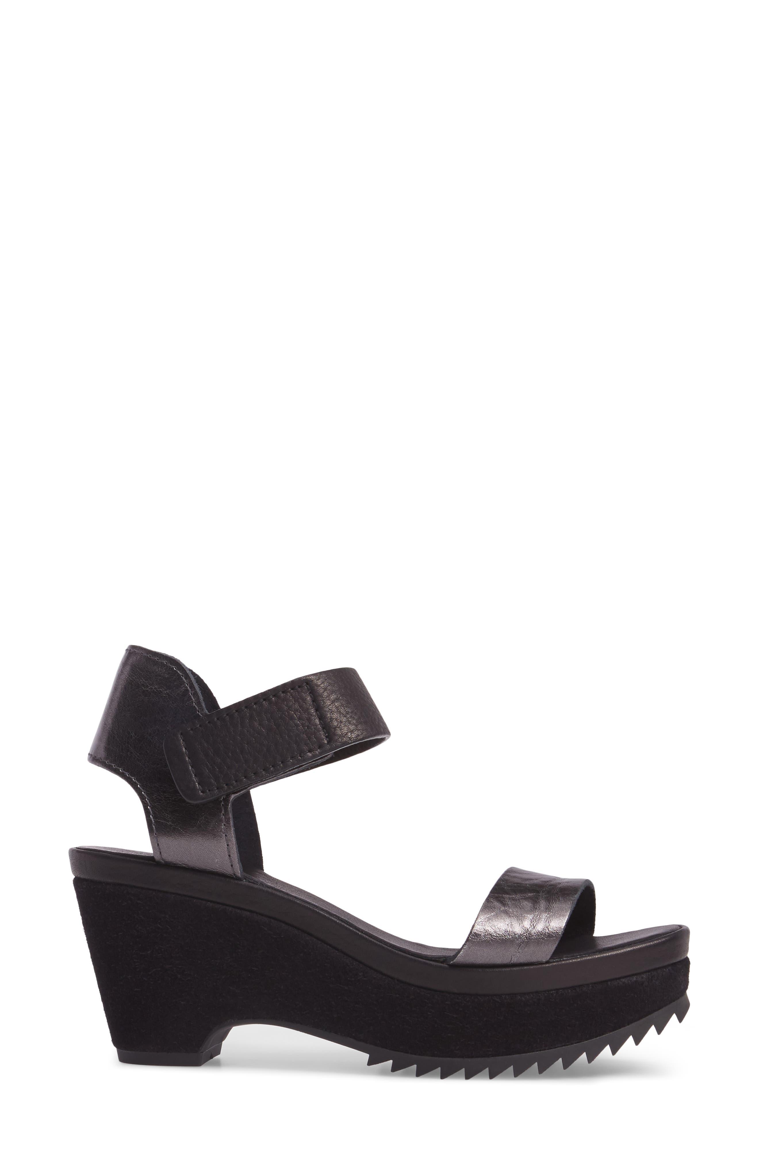 Franses Flatform Sandal,                             Alternate thumbnail 3, color,                             Antracite Cervo Lame