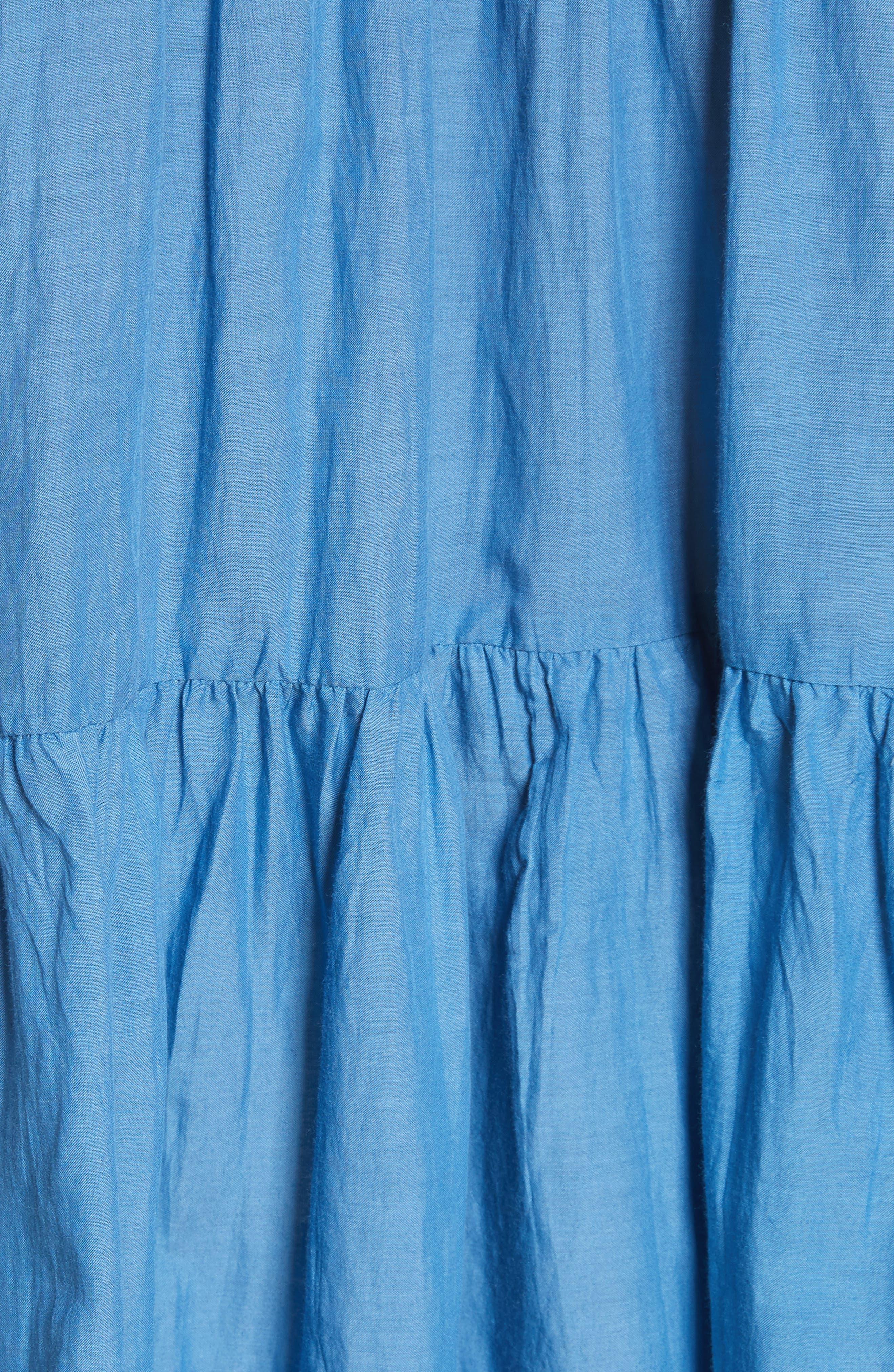 Adaline Ruffle Cotton Blouse,                             Alternate thumbnail 6, color,                             Blue