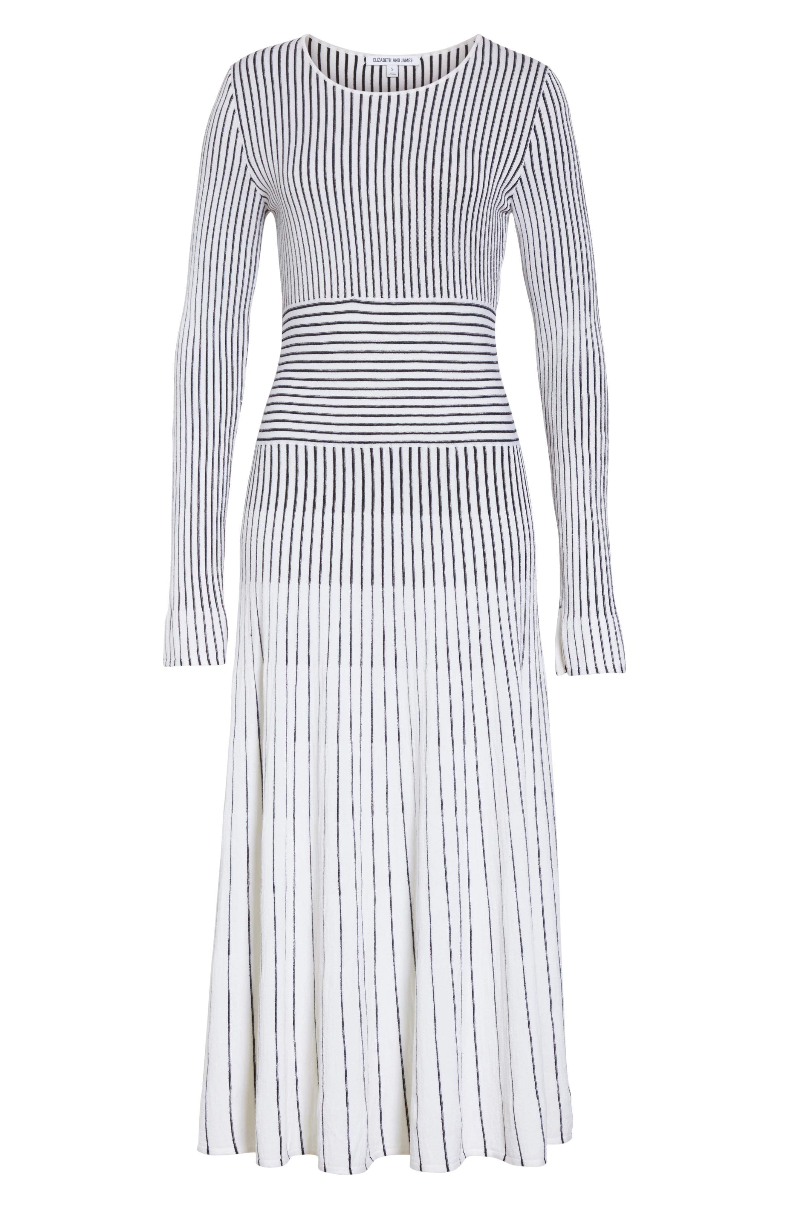 Sheridan Stripe Knit Midi Dress,                             Alternate thumbnail 6, color,                             Ivory/ Black
