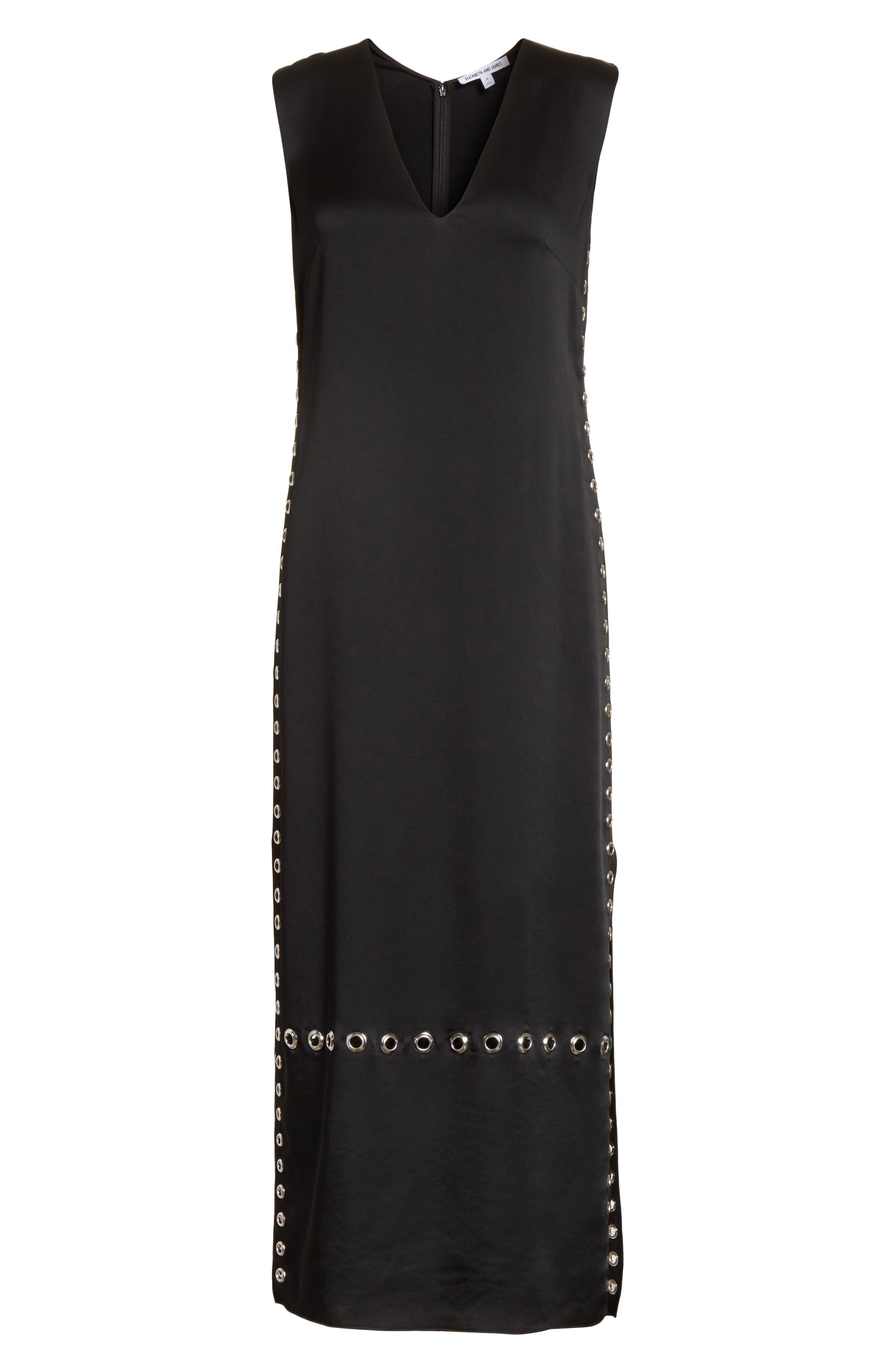 Leigh Grommet Midi Dress,                             Alternate thumbnail 5, color,                             Black