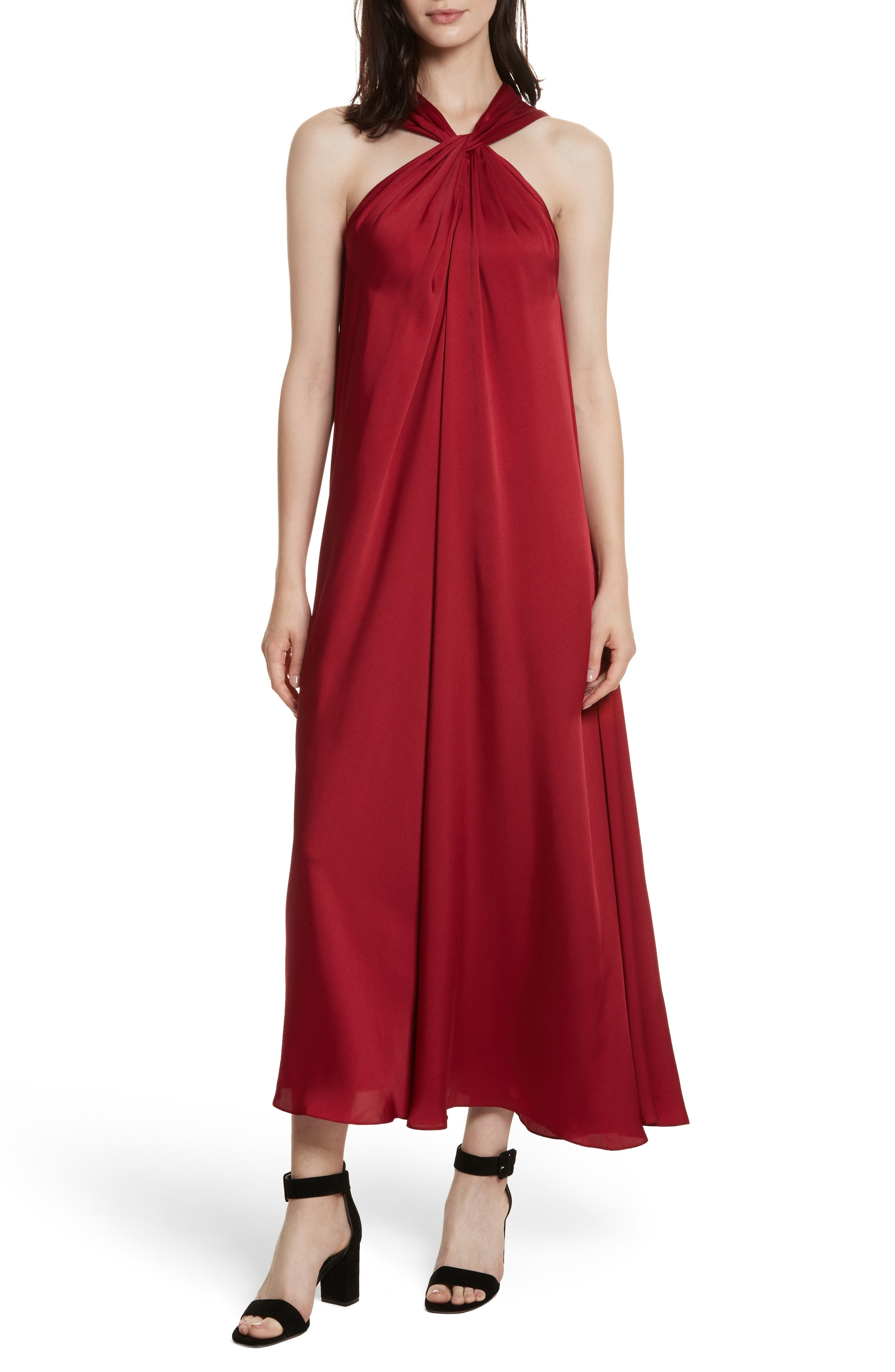Cavan Twist Neck Satin Dress,                             Main thumbnail 1, color,                             Ruby