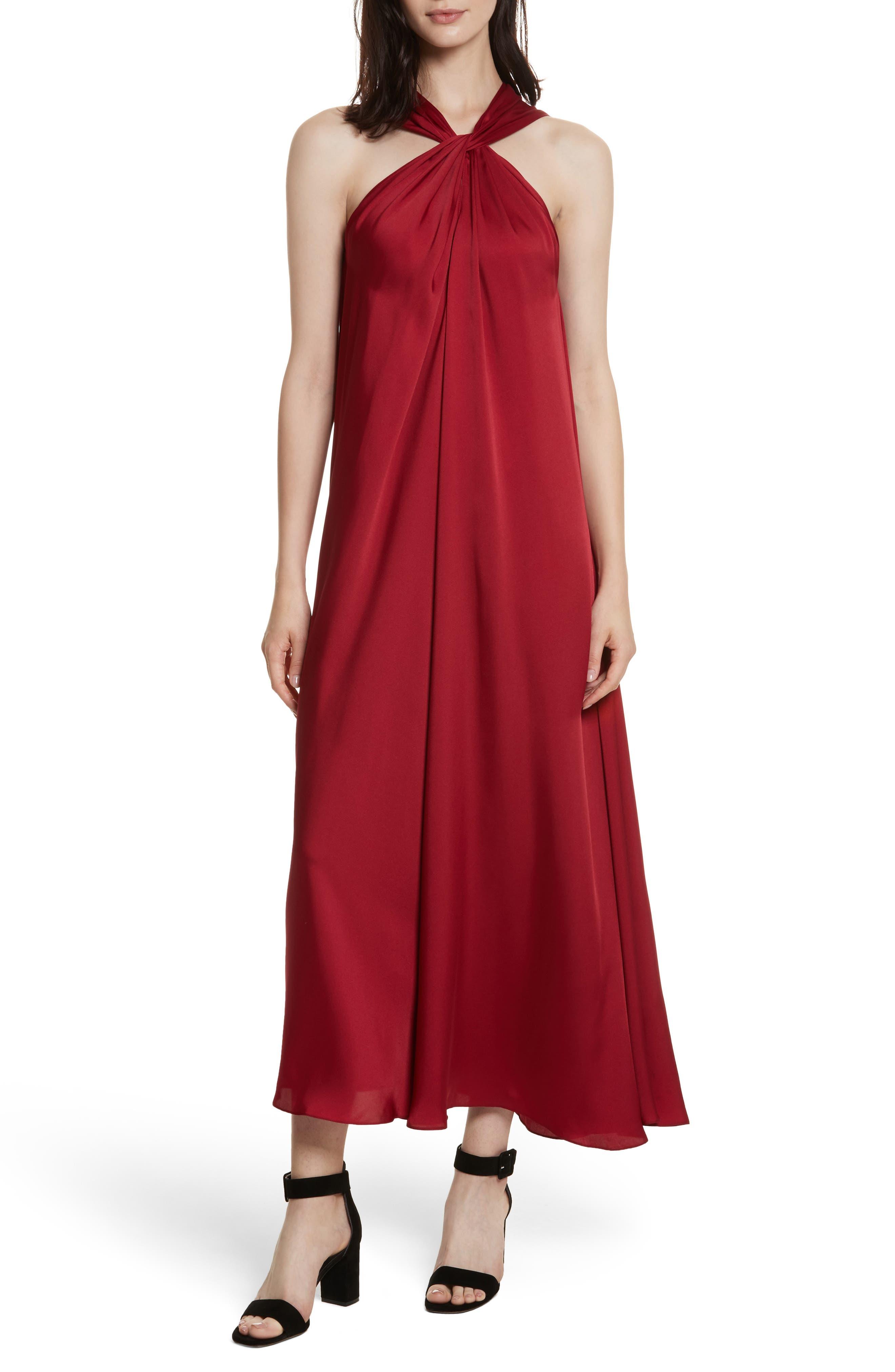 Cavan Twist Neck Satin Dress,                         Main,                         color, Ruby