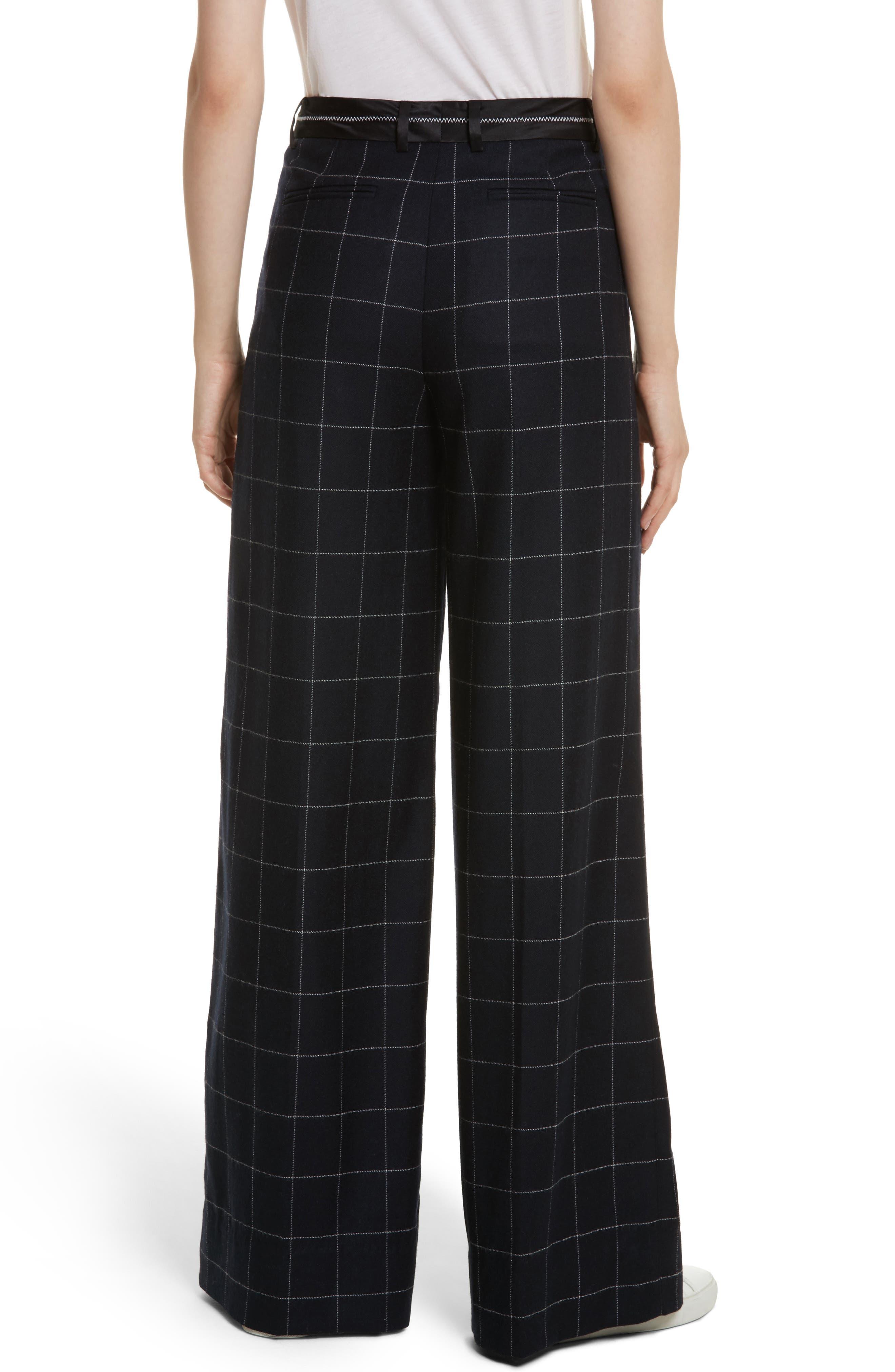 Windowpane Wool Blend Wide Leg Pants,                             Alternate thumbnail 2, color,                             Navy