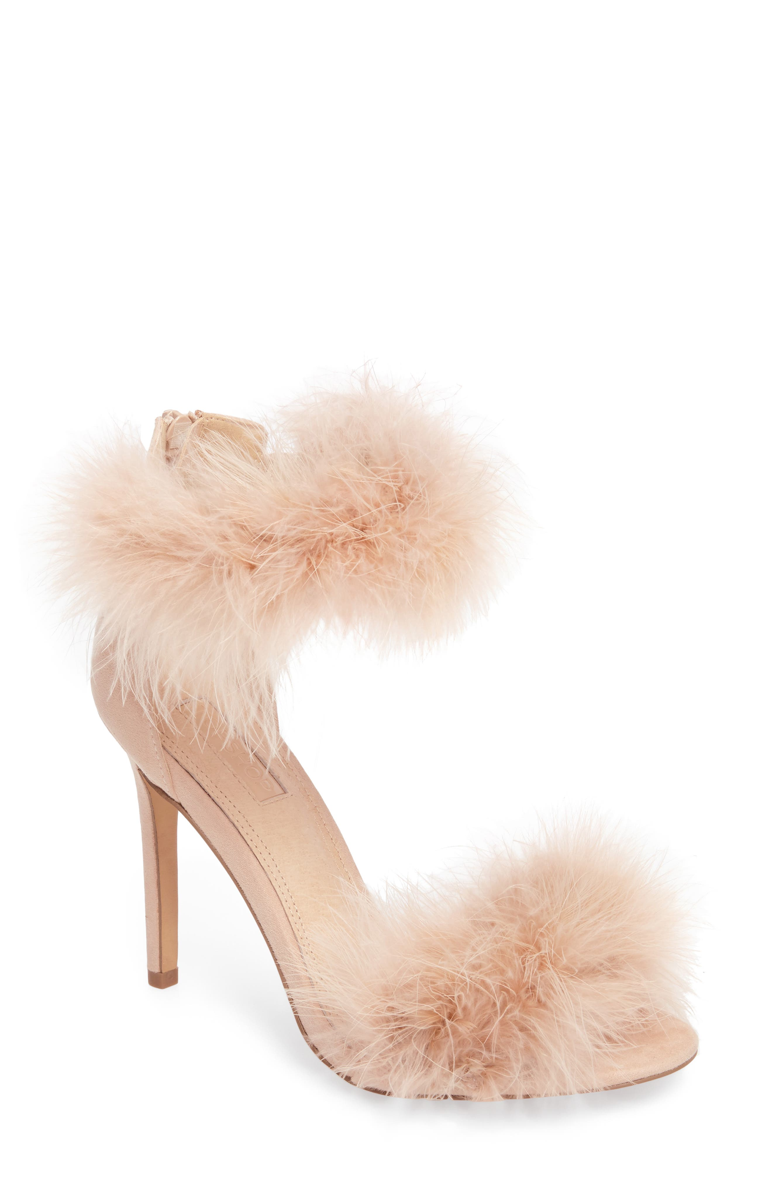 Feather Strap Sandal,                         Main,                         color, Nude
