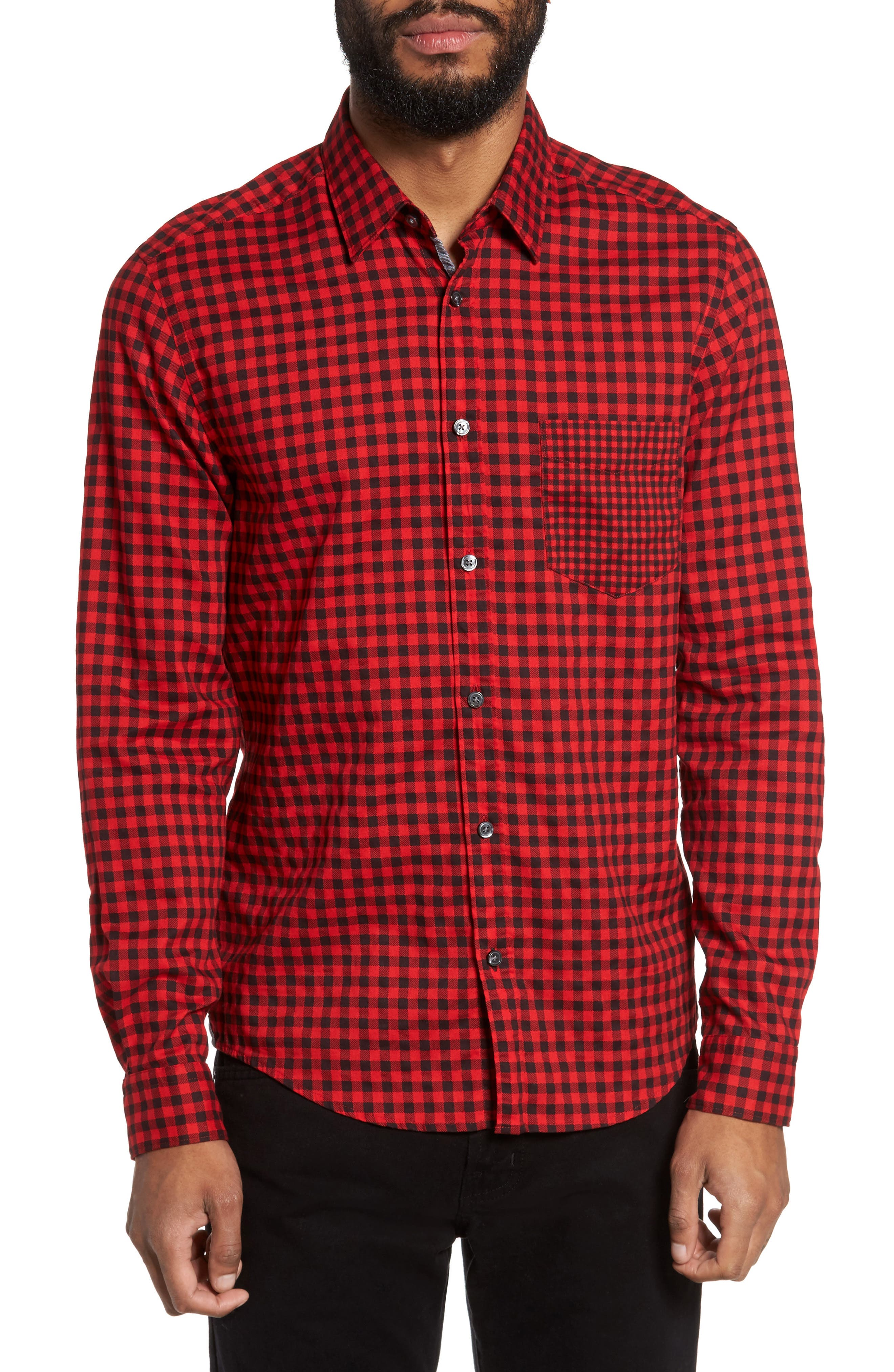 Lance Regular Fit Gingham Check Twill Sport Shirt,                             Main thumbnail 1, color,                             Red