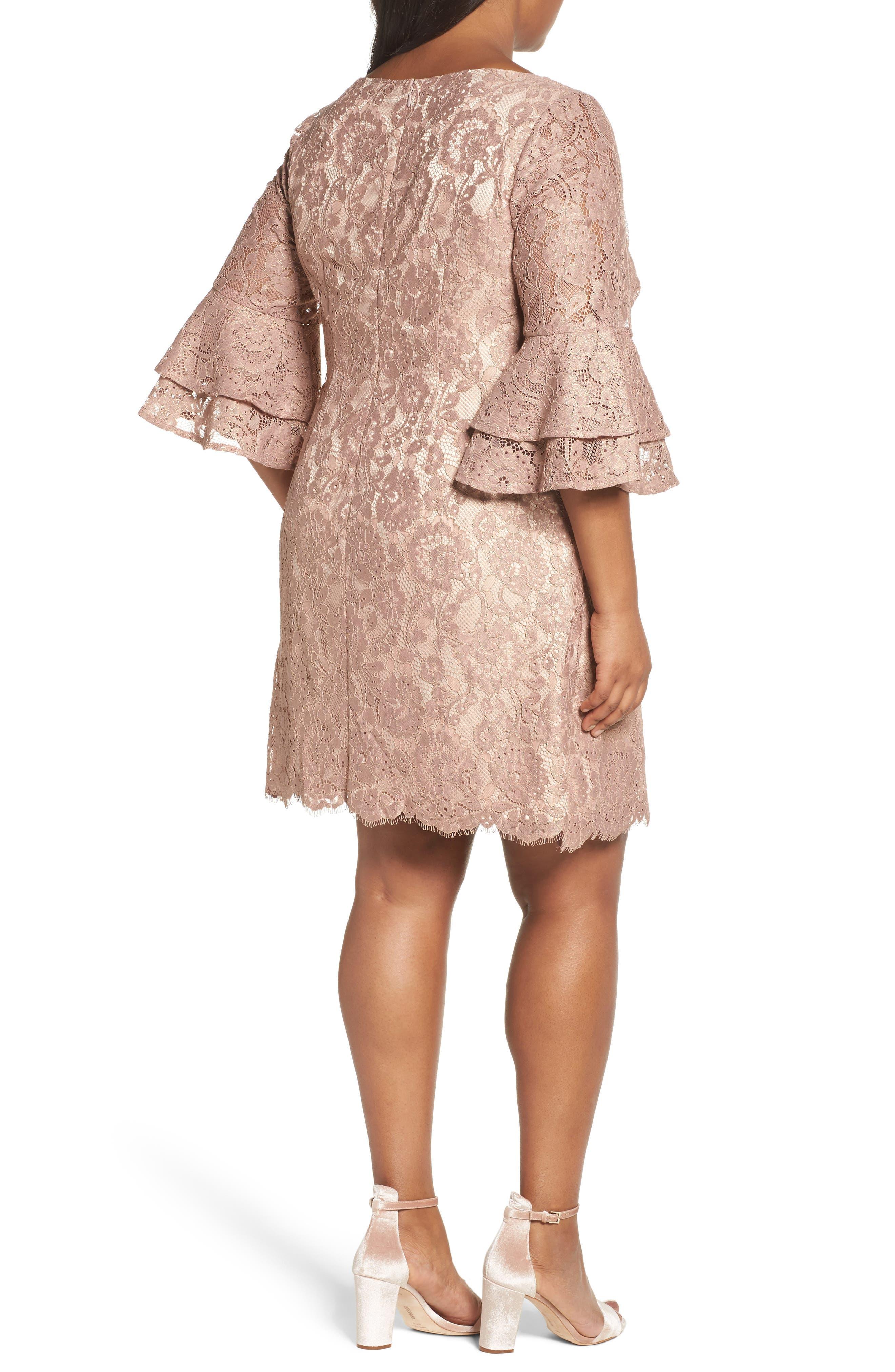 Ruffle Cuff Lace Shift Dress,                             Alternate thumbnail 2, color,                             Blush