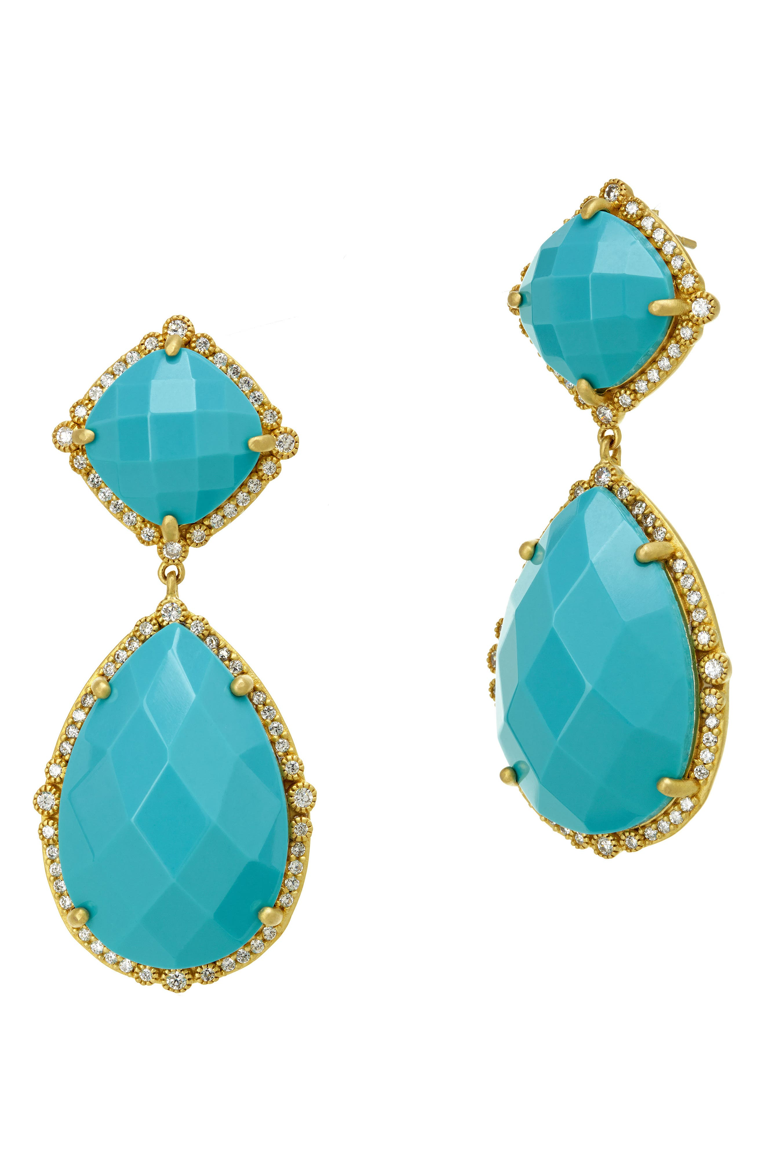 'Metropolitan' Stone Drop Earrings,                             Main thumbnail 1, color,                             Gold/ Turquoise