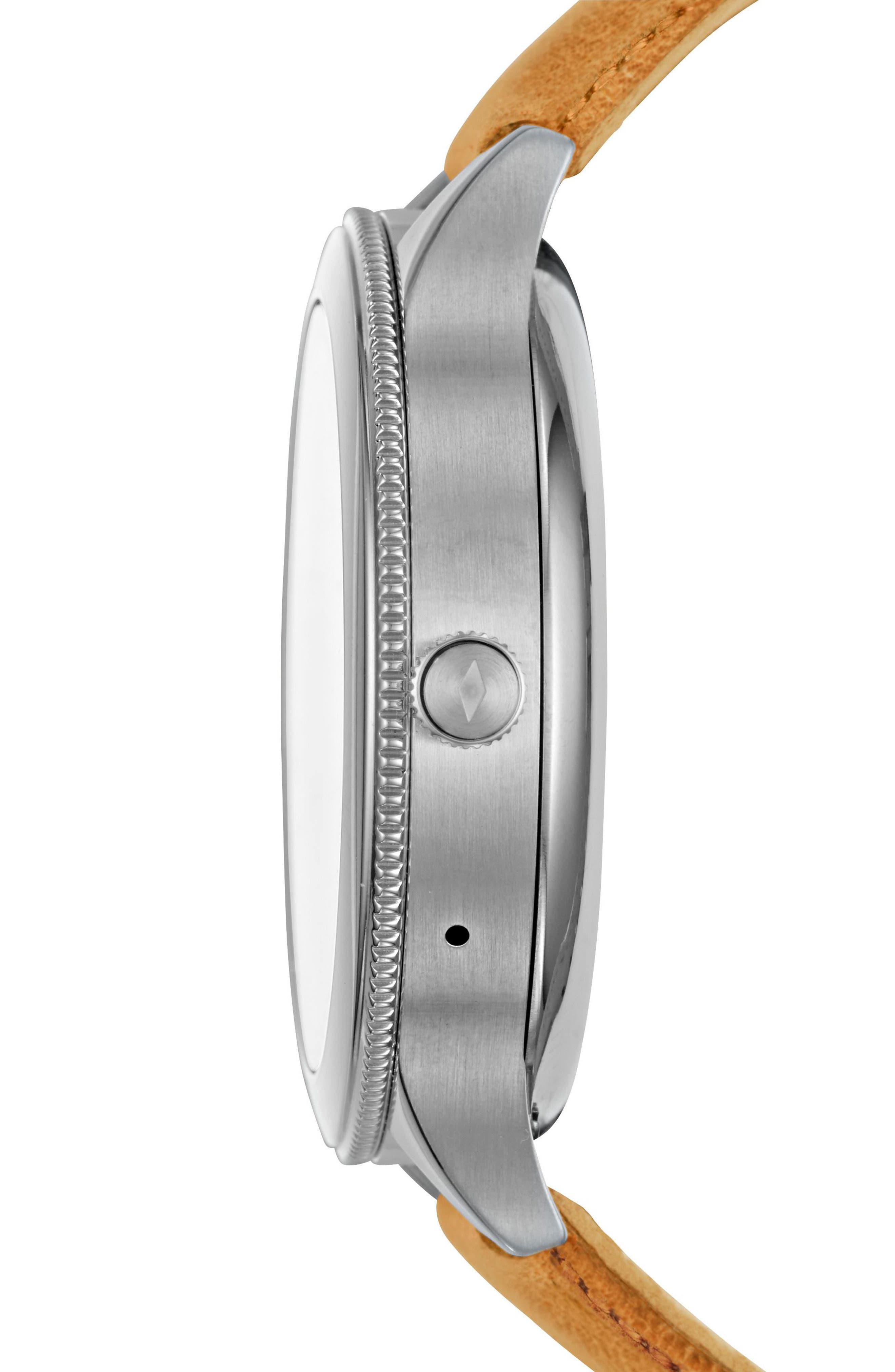 Venture Gen 3 Leather Strap Smart Watch, 42mm,                             Alternate thumbnail 2, color,                             Luggage/ Black/ Silver
