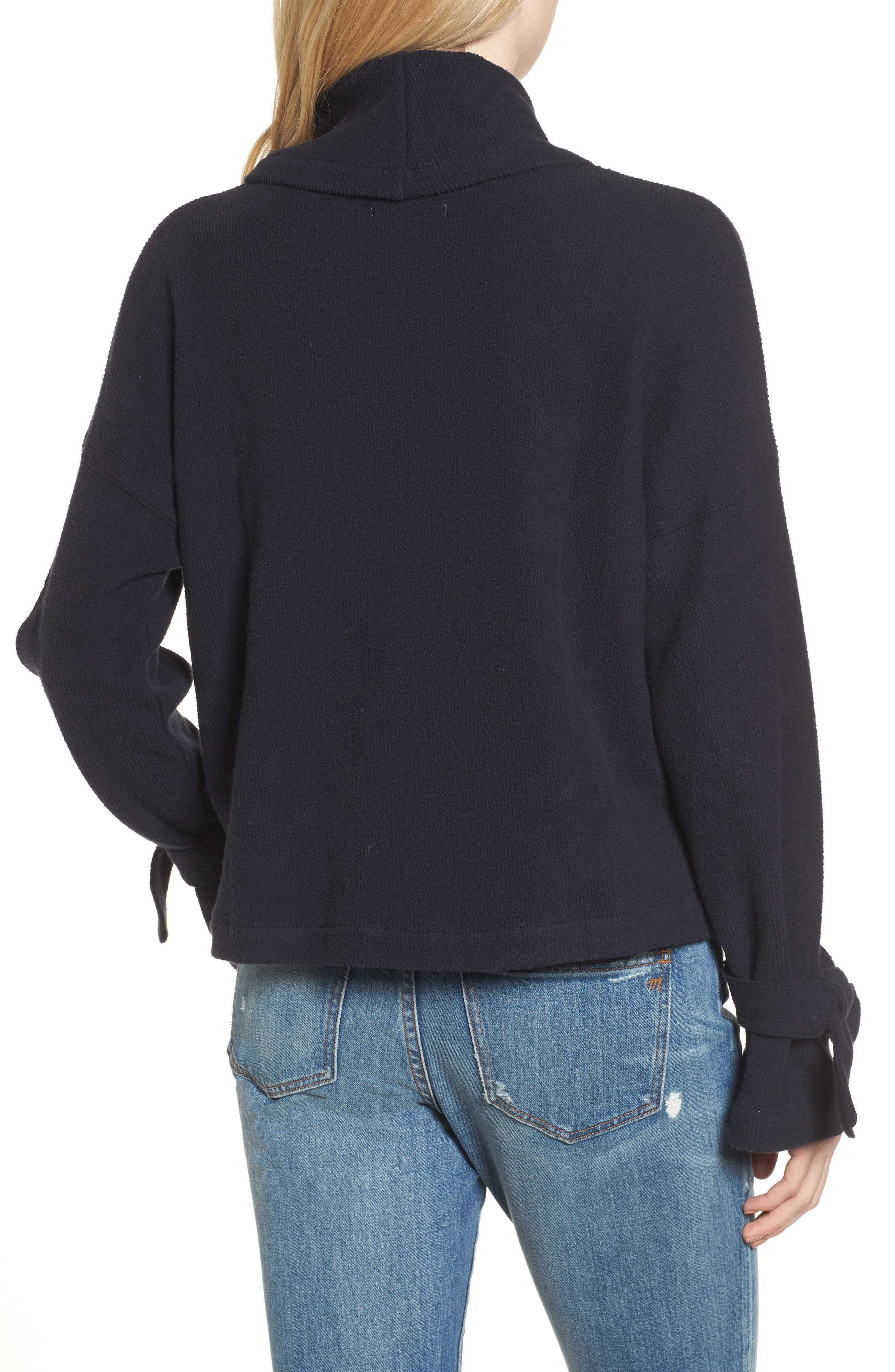 Mock Neck Tie Cuff Top,                             Alternate thumbnail 2, color,                             Night Vision