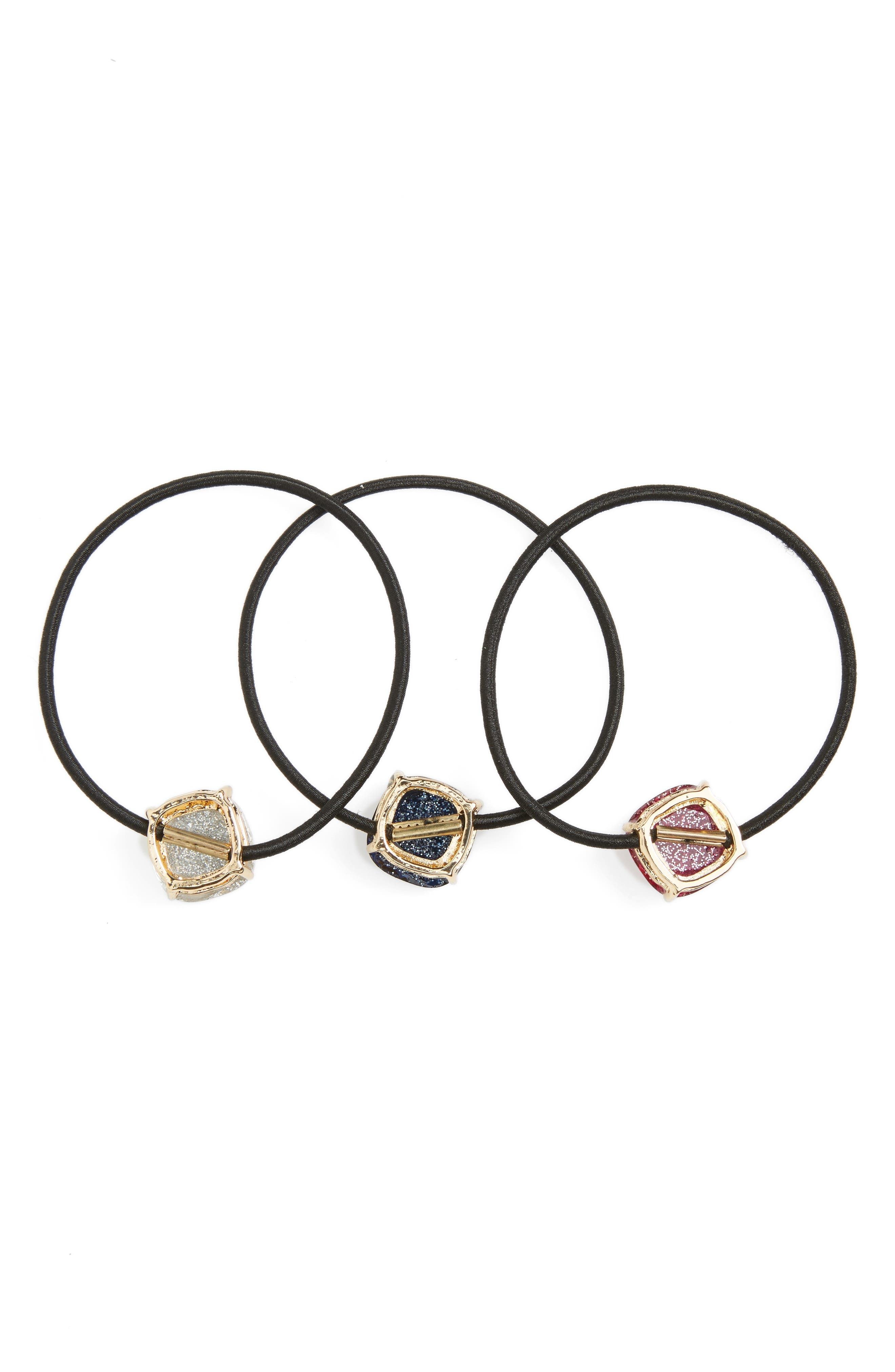 Alternate Image 2  - Cara Set of 3 Glitter Charm Ponytail Holders