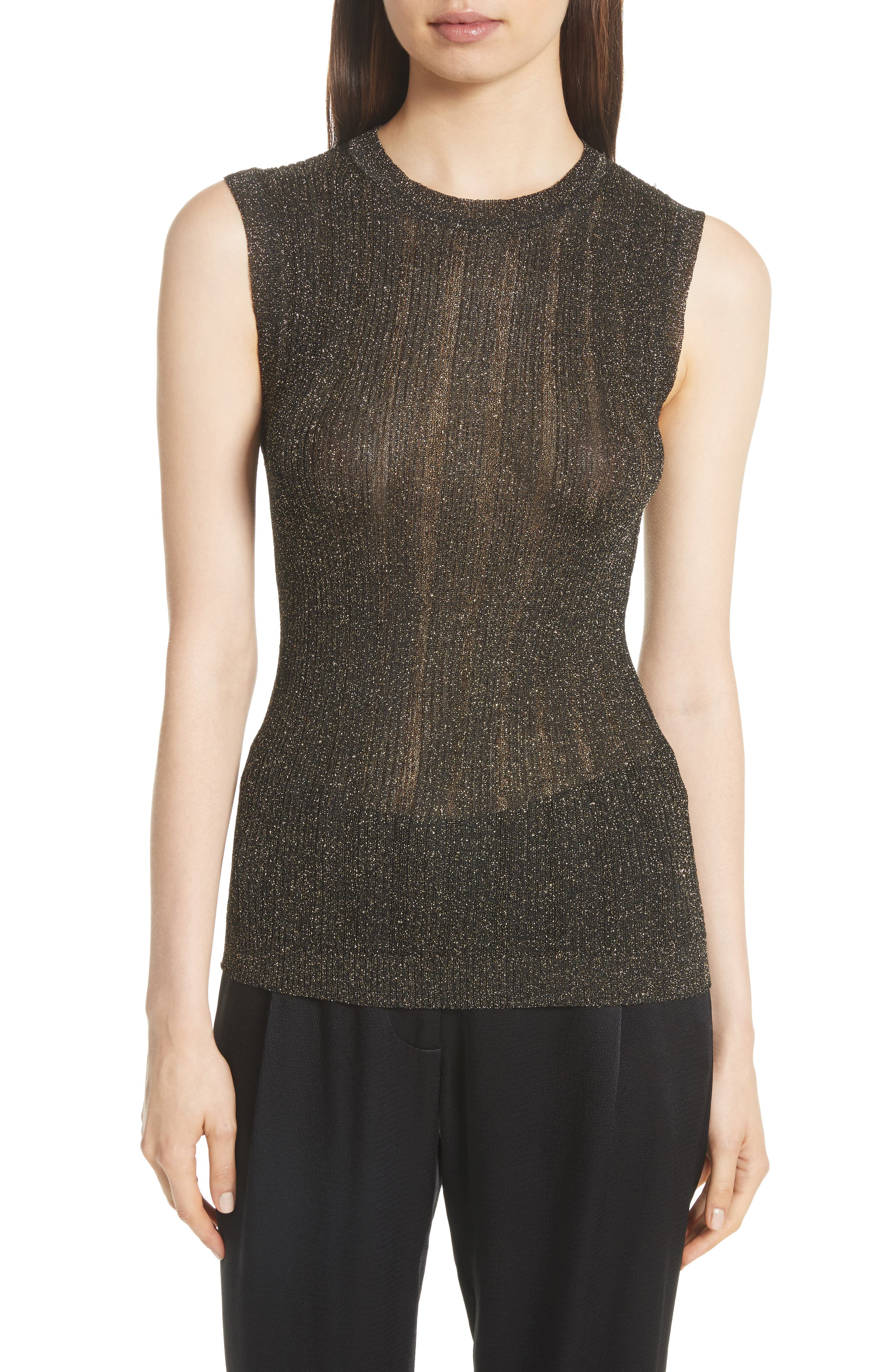 Lace Metallic Knit Top,                         Main,                         color, Black And Gold Bag
