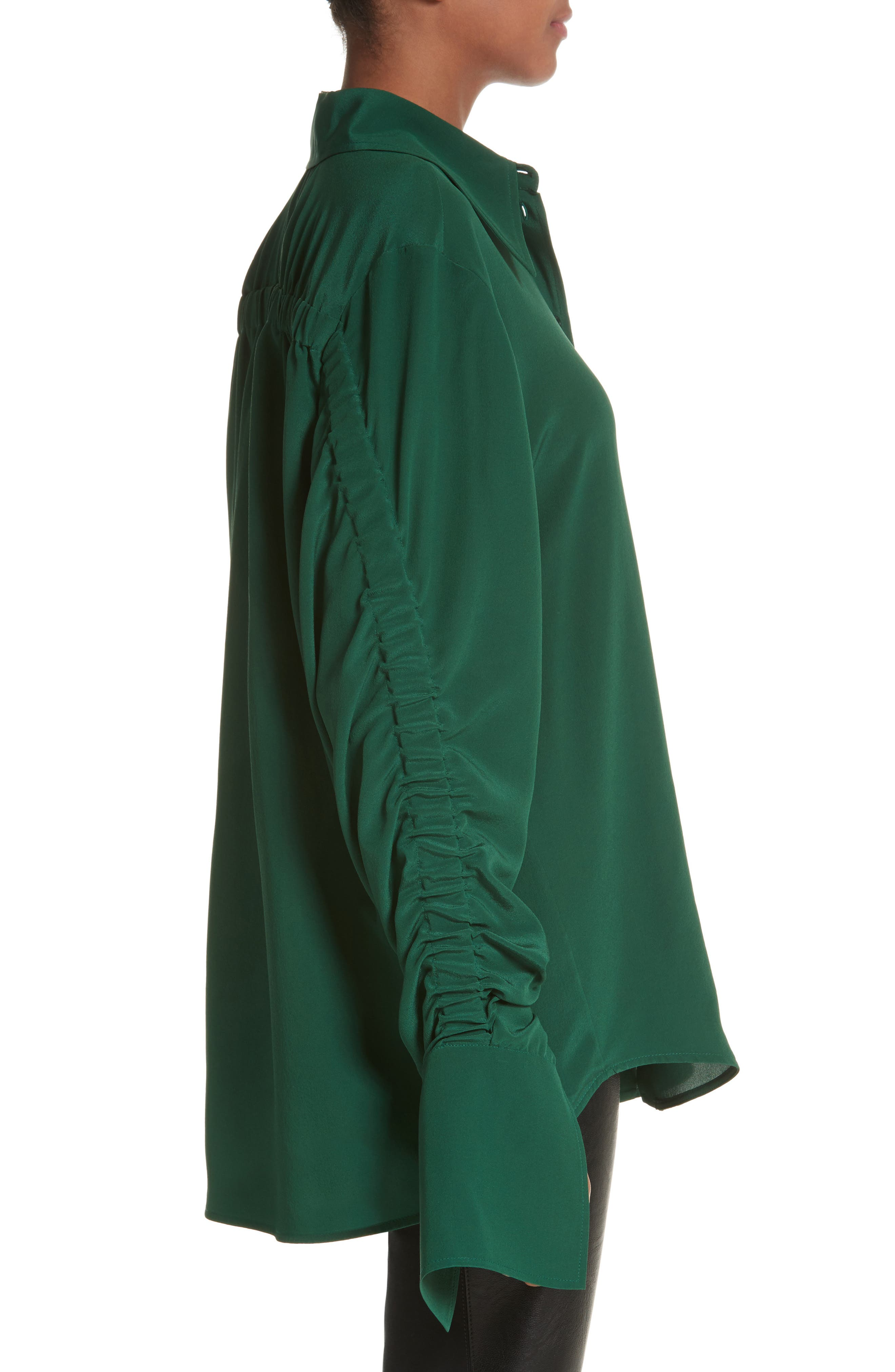 Ruched Flare Cuff Silk Shirt,                             Alternate thumbnail 3, color,                             Leaf Green