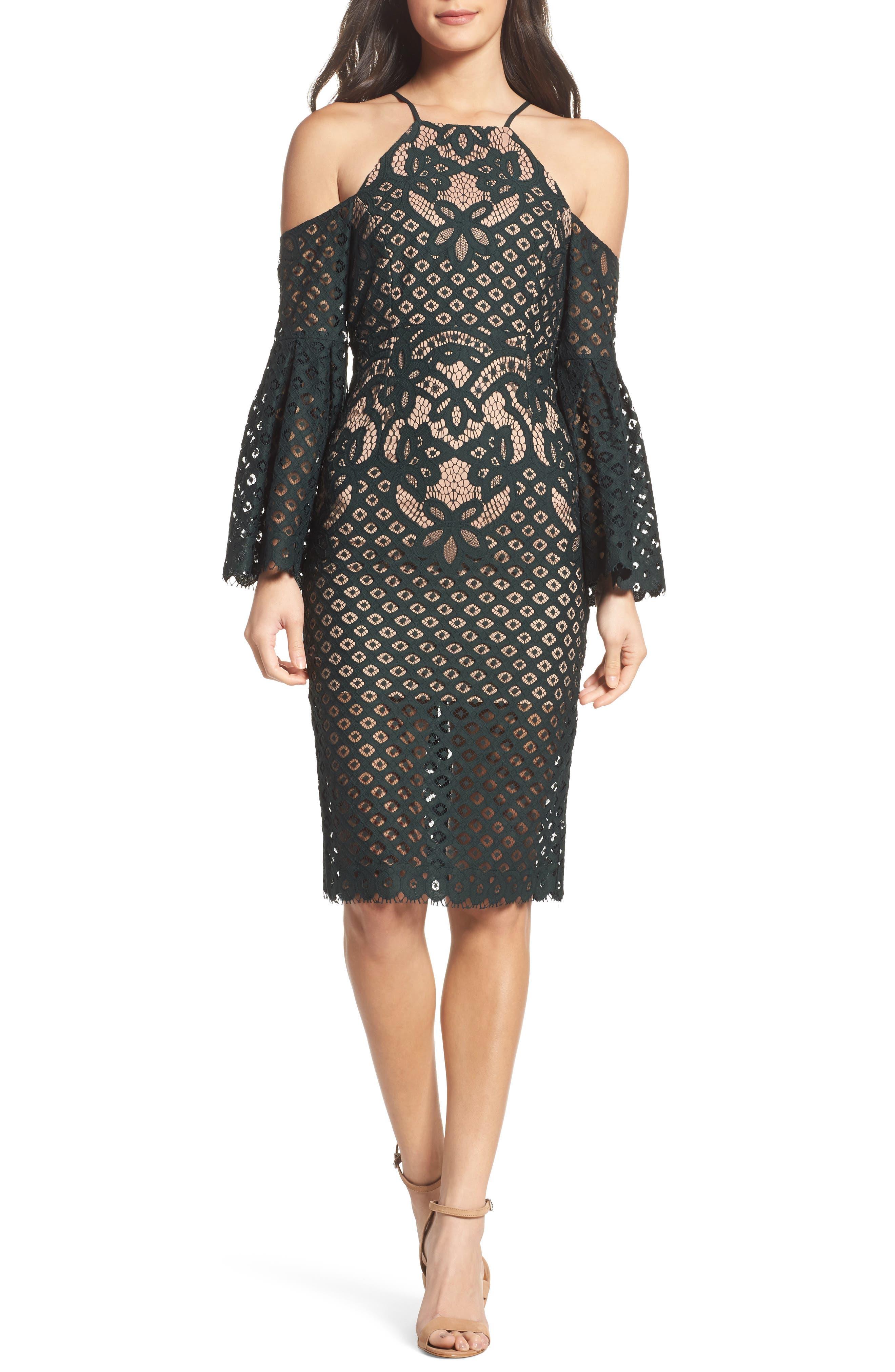Bardot 'Mila' Cold Shoulder Lace Midi Dress