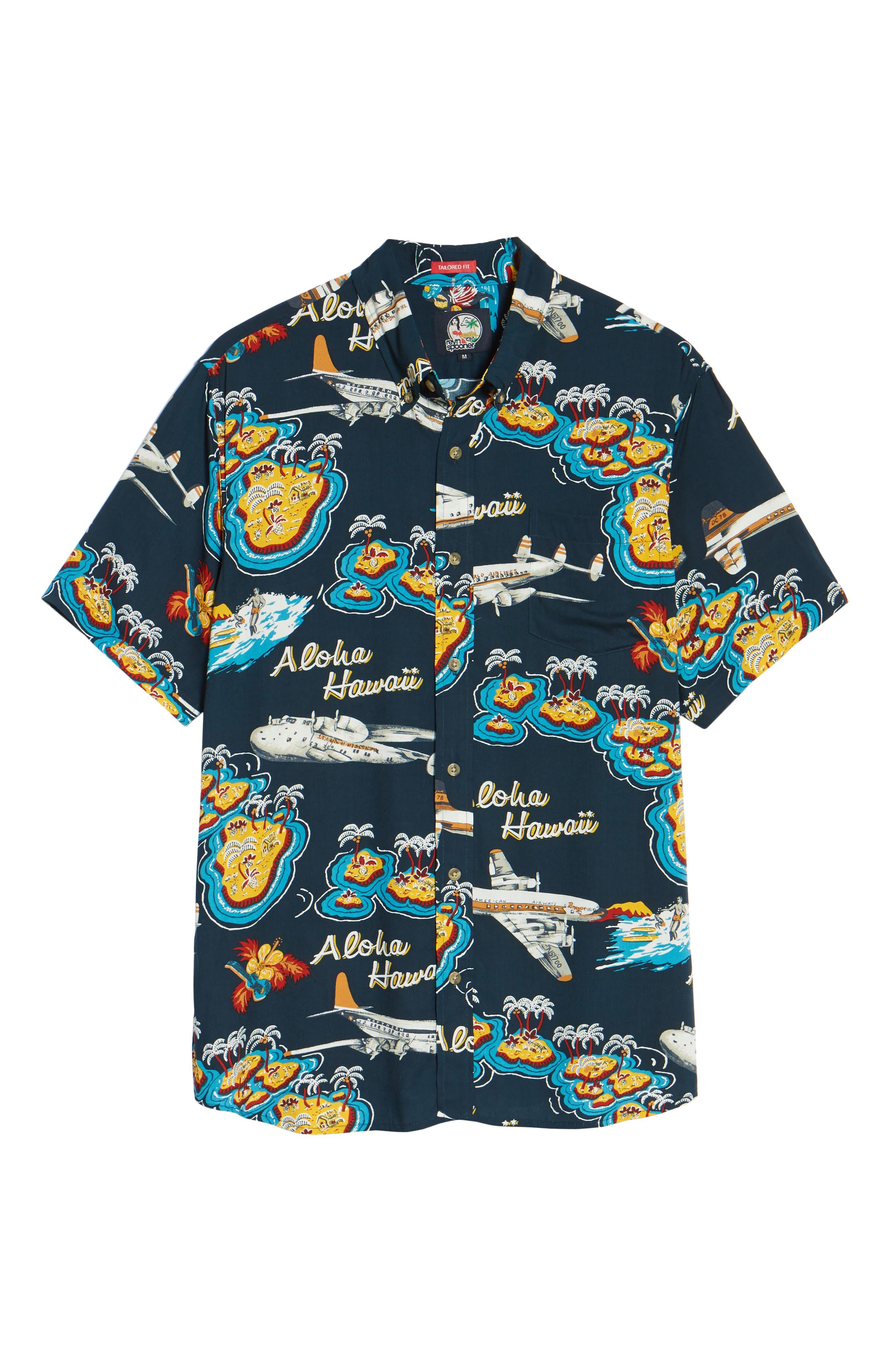 Birds in Paradise Modern Fit Shirt,                             Alternate thumbnail 6, color,                             Navy