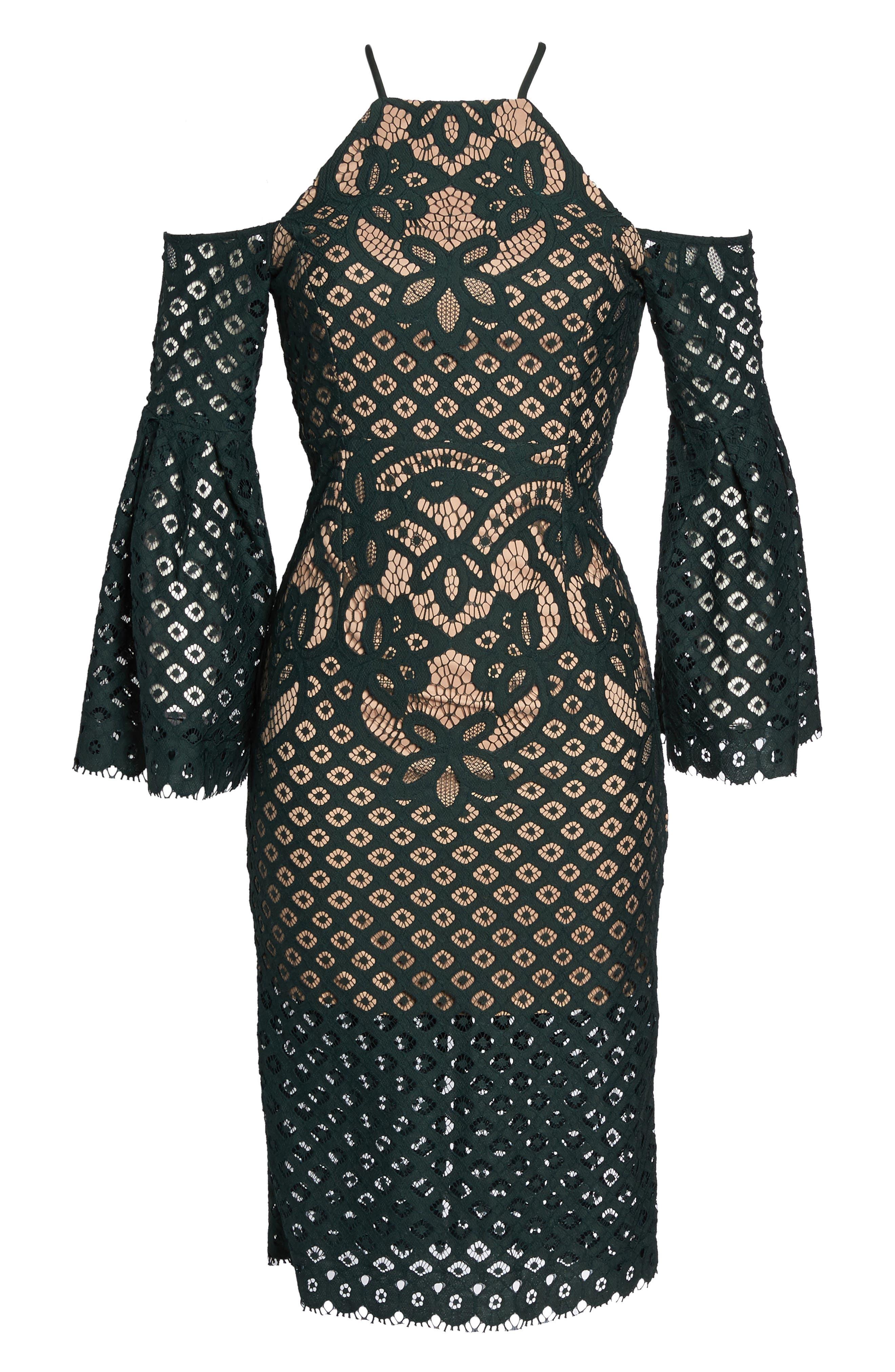 Alternate Image 6  - Bardot 'Mila' Cold Shoulder Lace Midi Dress