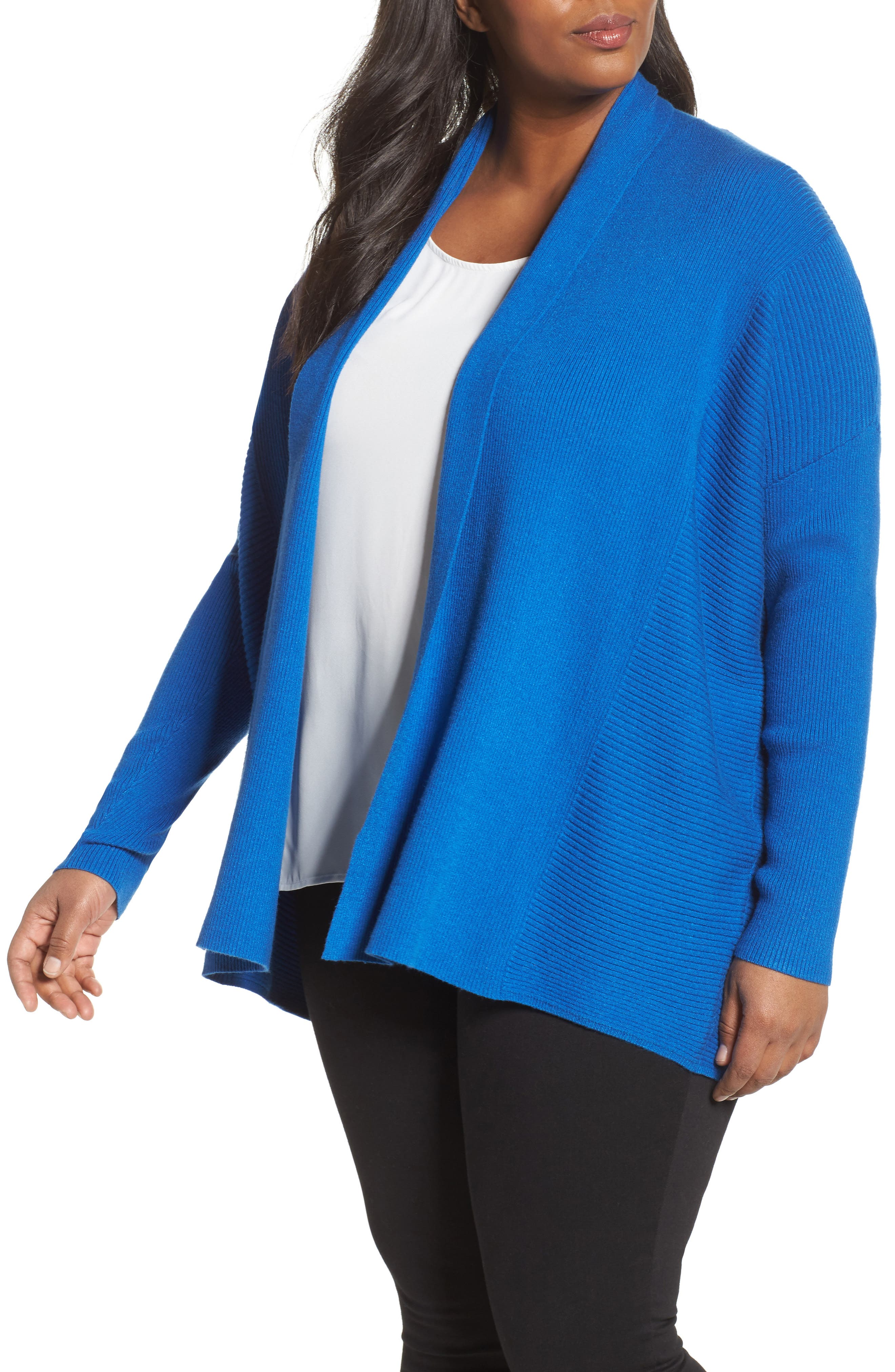 Sejour Relaxed Ribbed Cardigan (Plus Size)