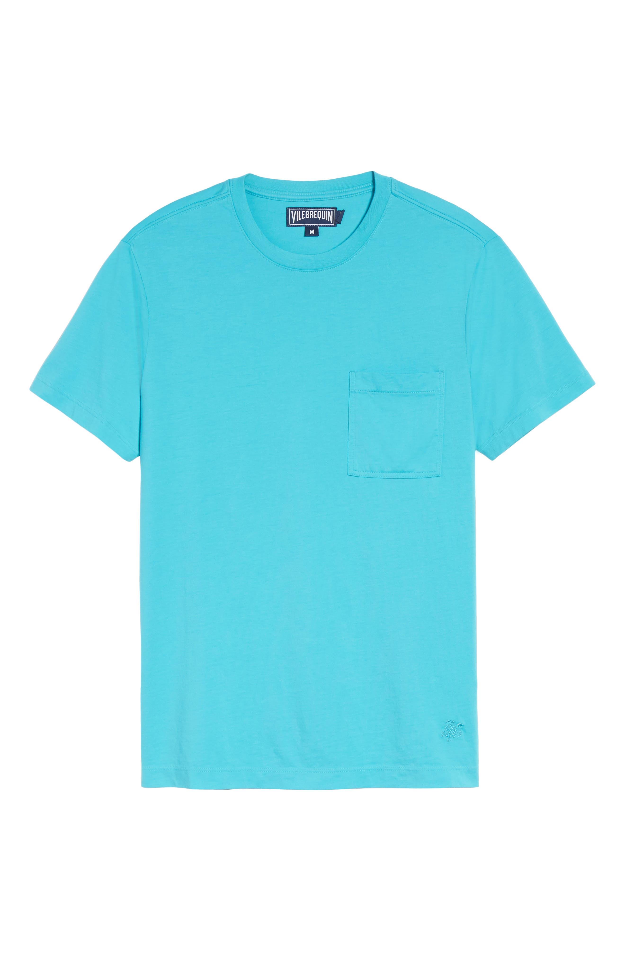 Classic Fit Pocket T-Shirt,                             Alternate thumbnail 6, color,                             Azure