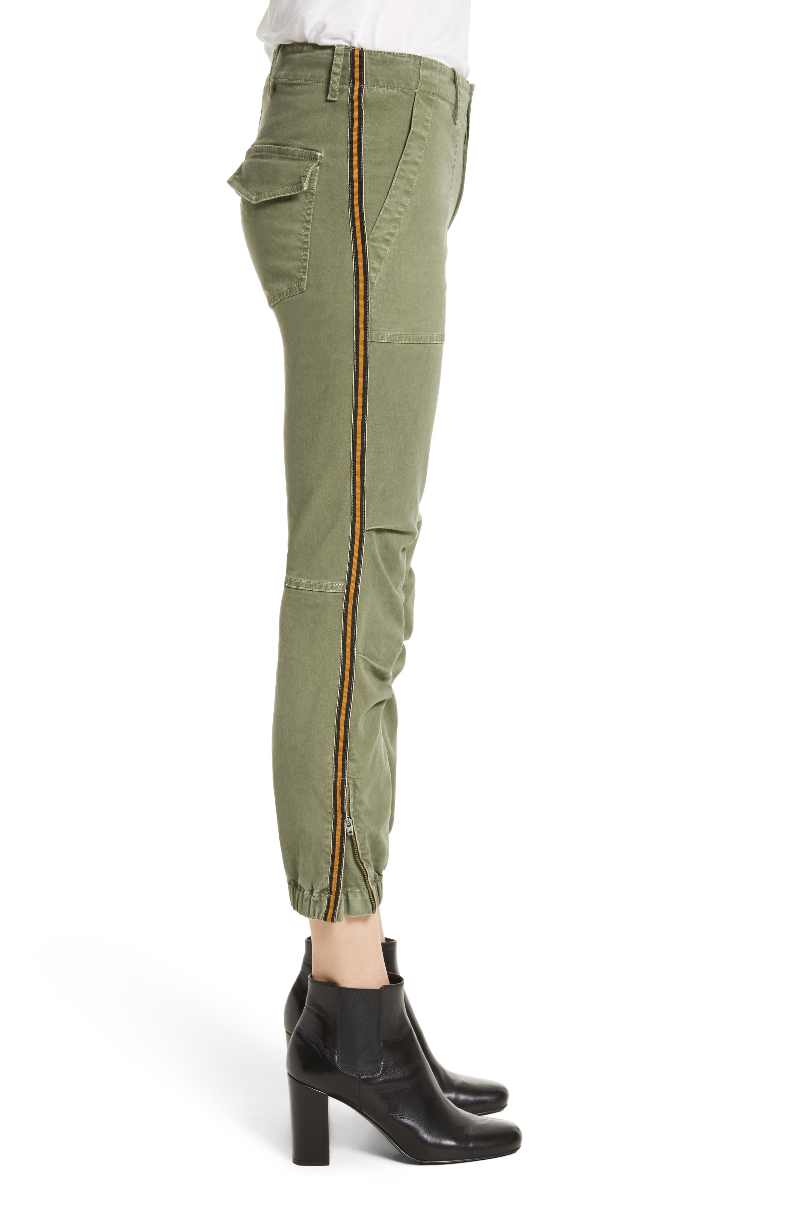 French Crop Military Pants,                             Alternate thumbnail 5, color,                             Camo