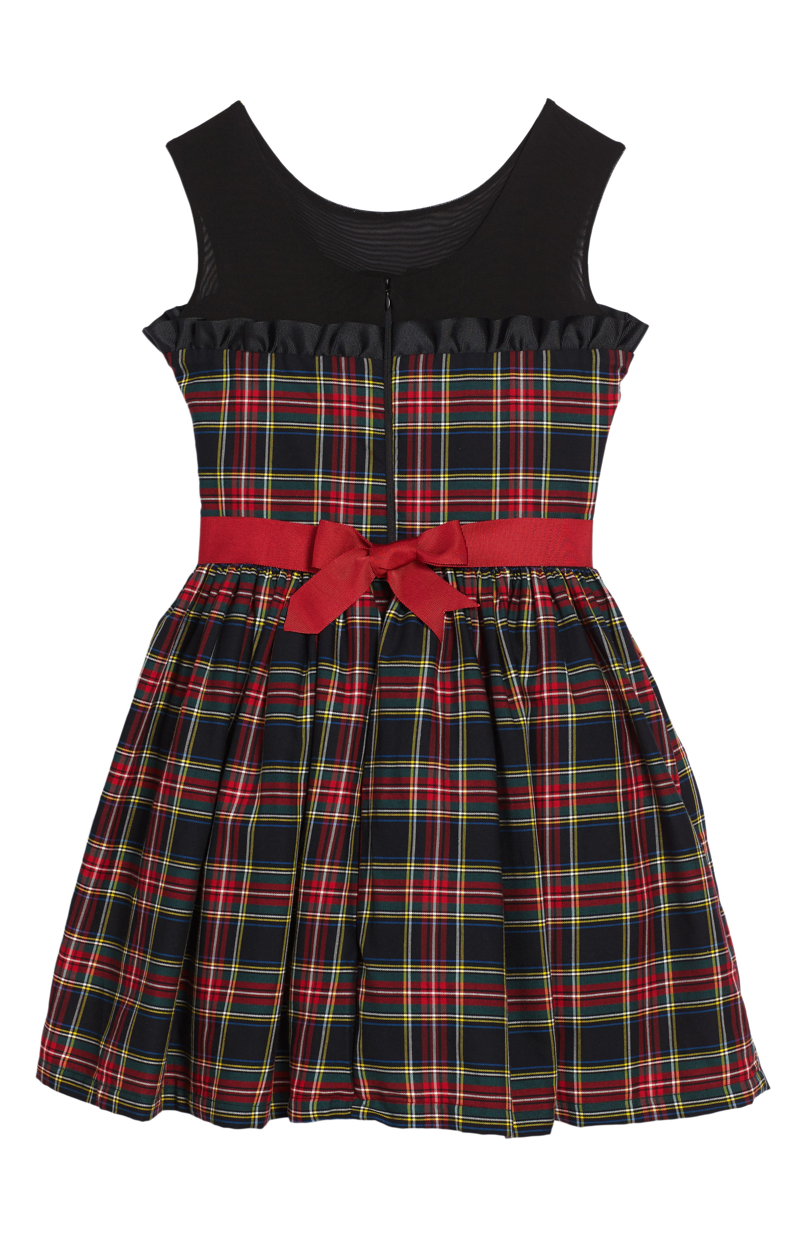 Winter Tartan Party Dress,                             Alternate thumbnail 2, color,                             Red Plaid
