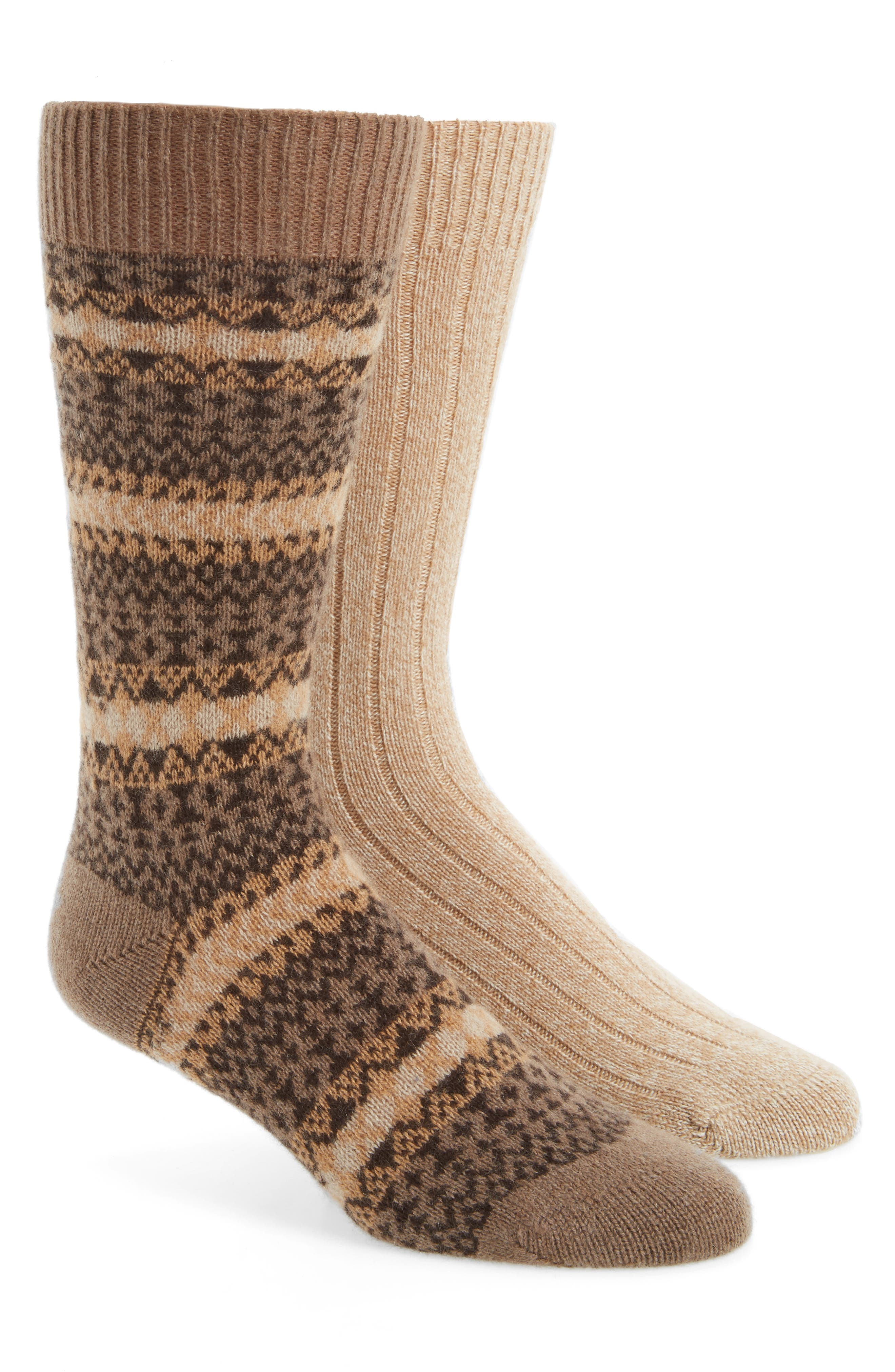 2-Pack Cashmere Blend Socks,                             Main thumbnail 1, color,                             Oatmeal Chine