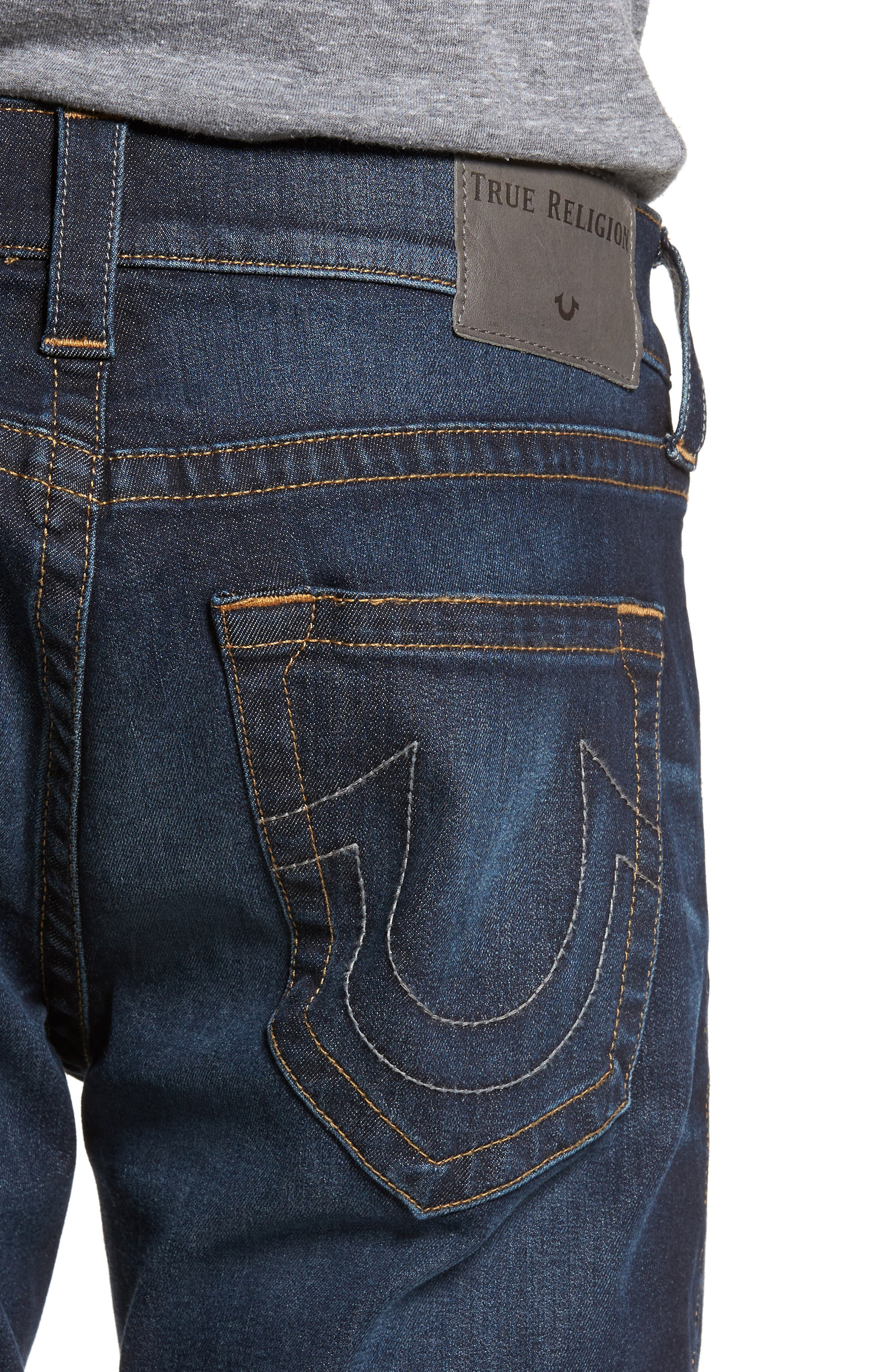 Rocco Skinny Fit Jeans,                             Alternate thumbnail 4, color,                             Dark Indigo Luxe