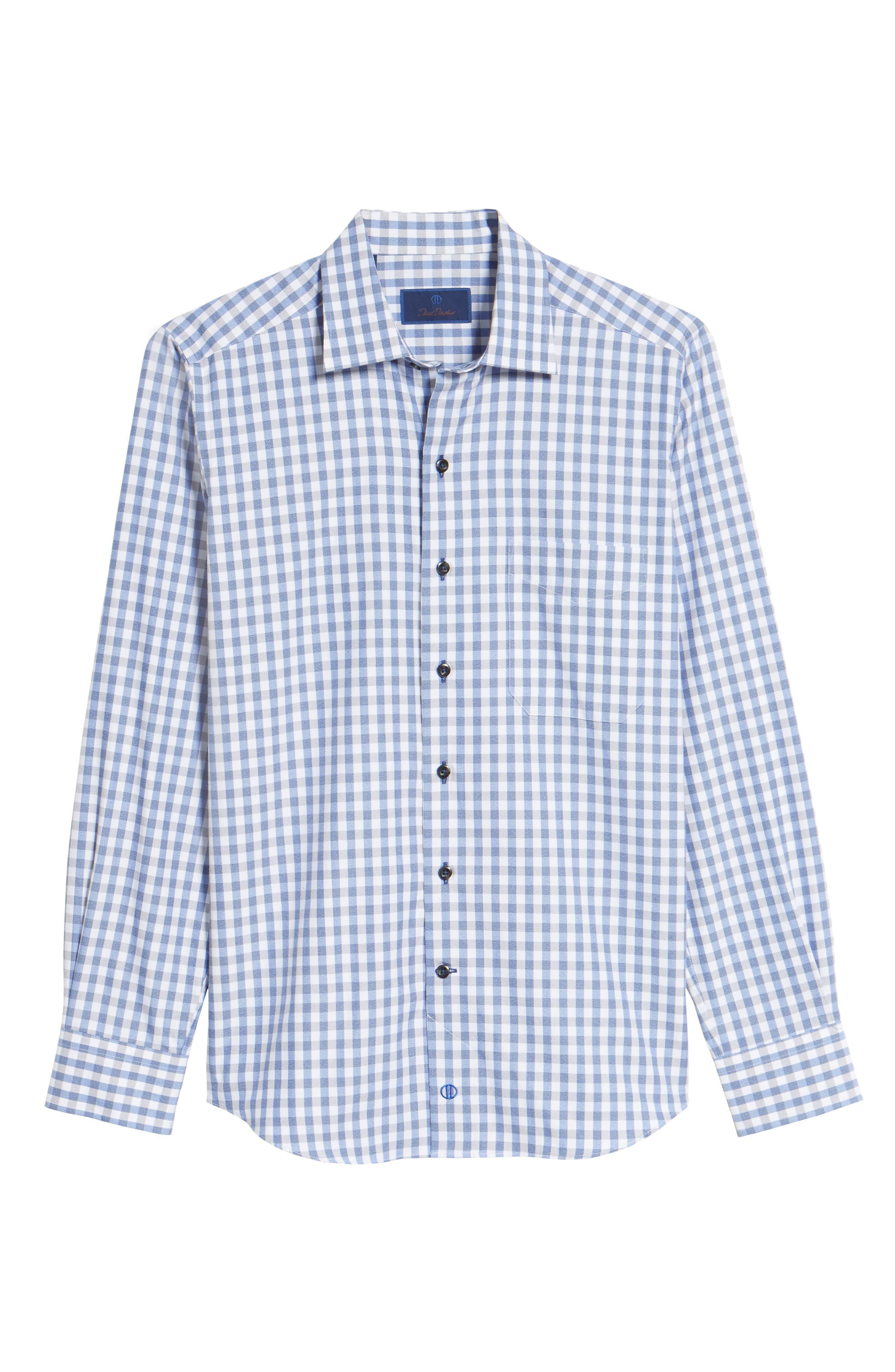 Gingham Sport Shirt,                             Alternate thumbnail 6, color,                             Blue