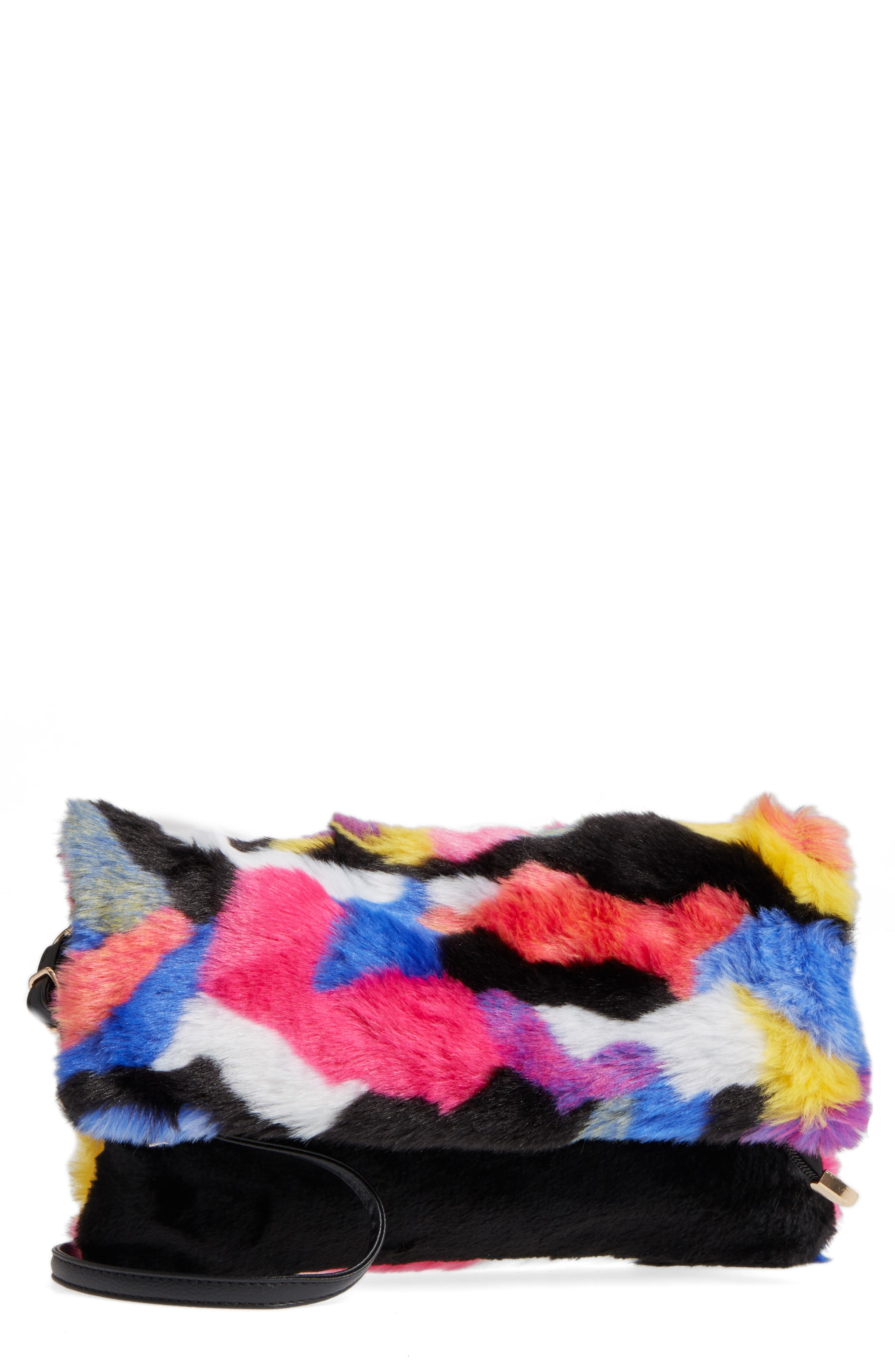 Faux Fur Foldover Clutch,                             Main thumbnail 1, color,                             Multi